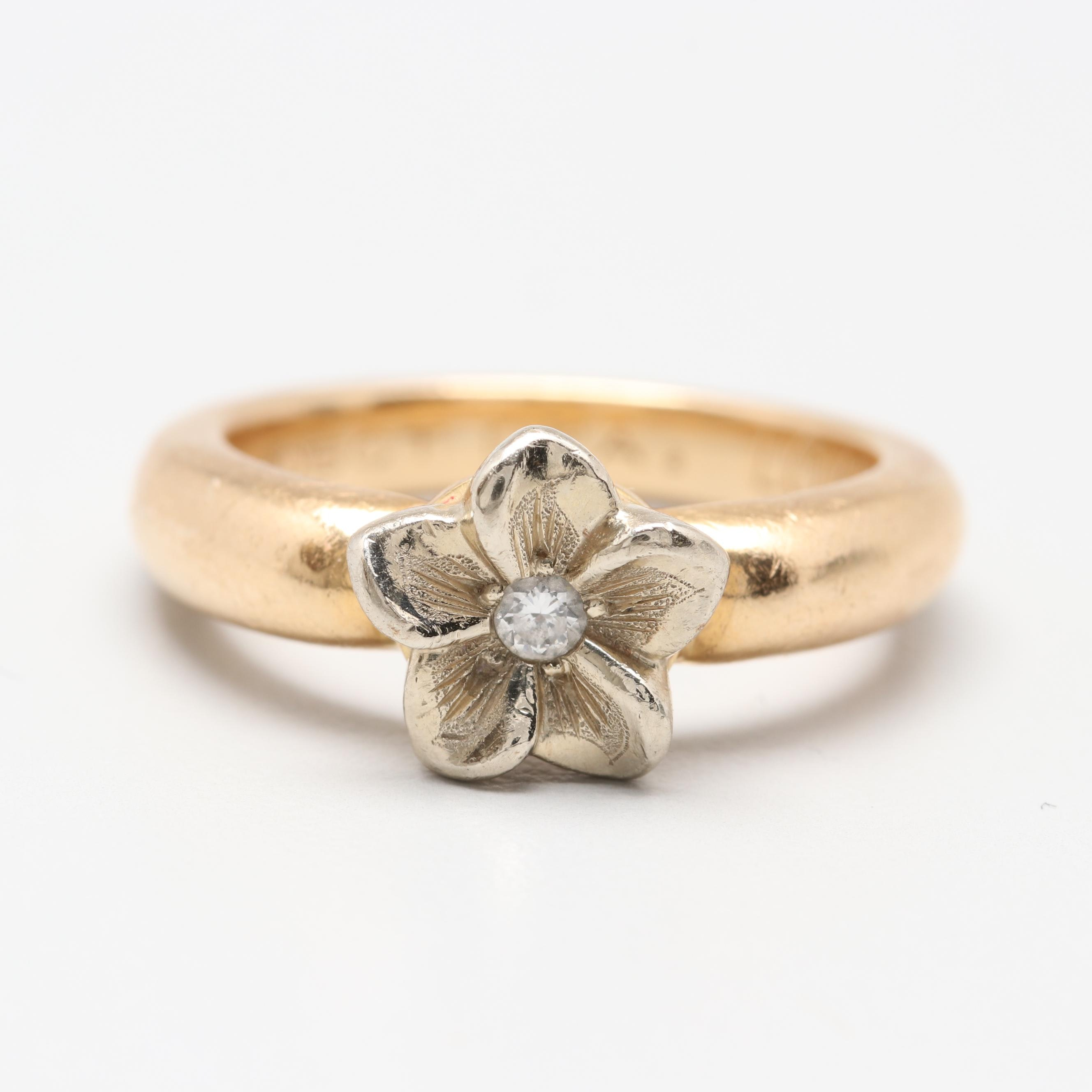 14K White and Yellow Gold Diamond Floral Ring