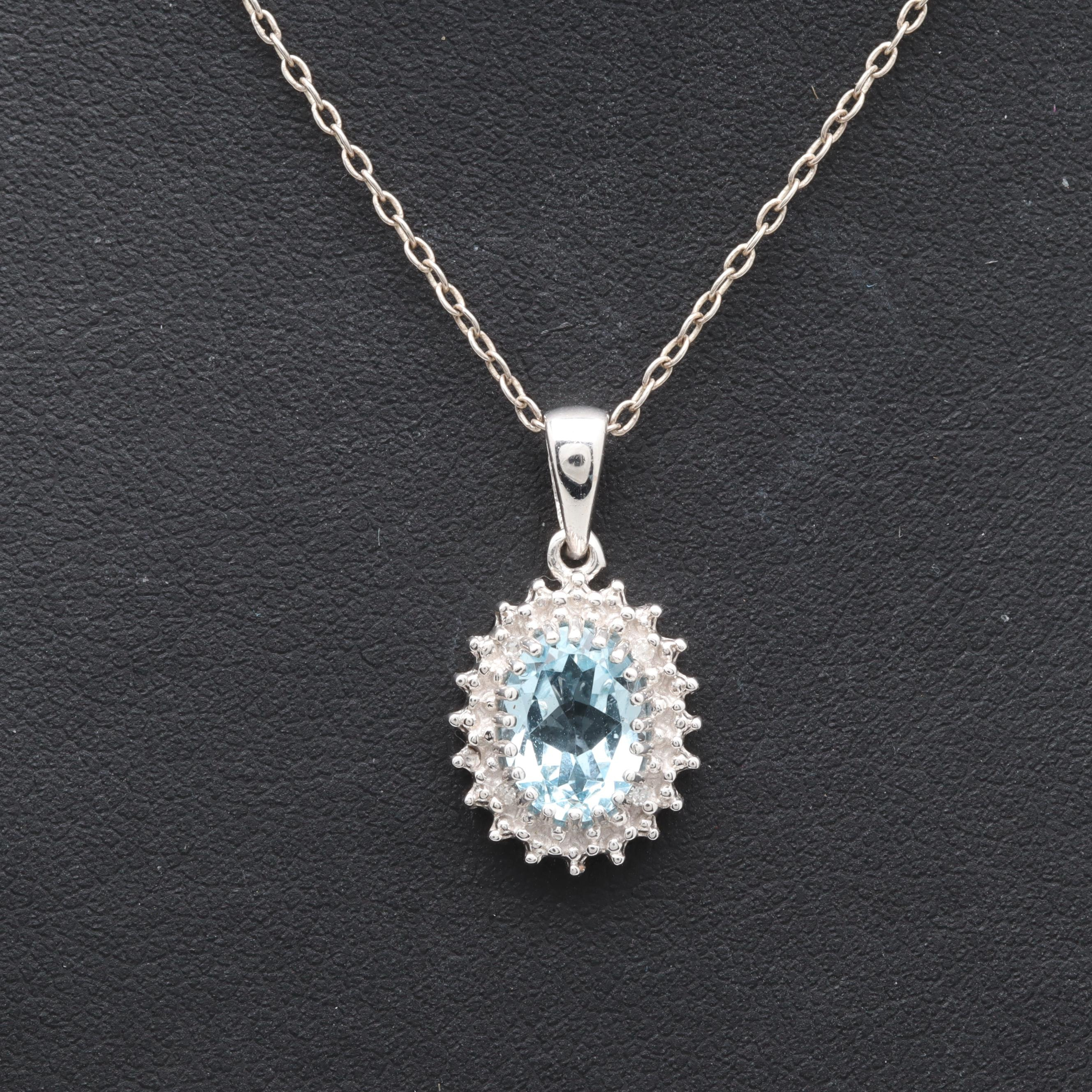 Sterling Silver Blue Topaz and Diamond Necklace