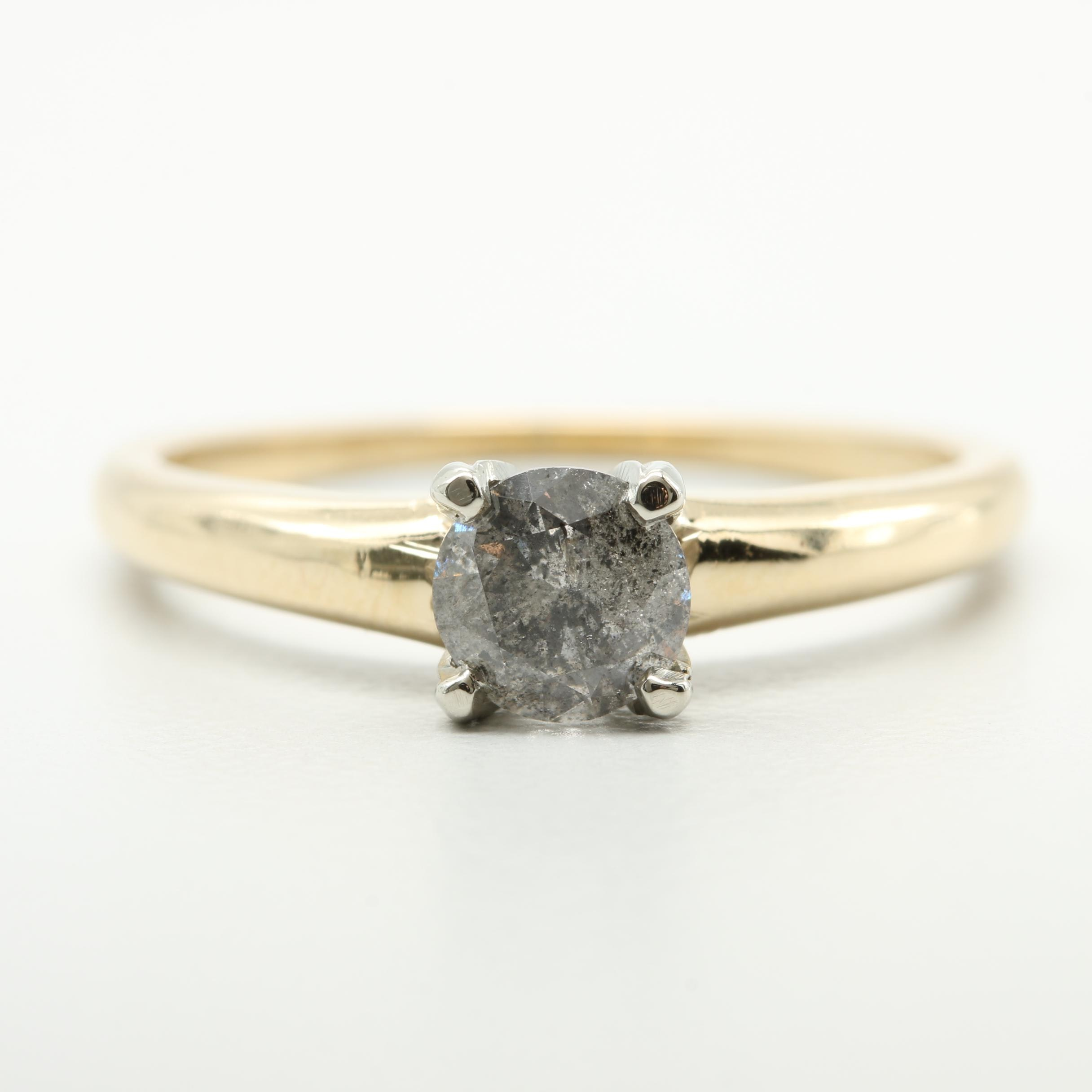 Krementz 14K Yellow Gold Diamond Solitaire Ring