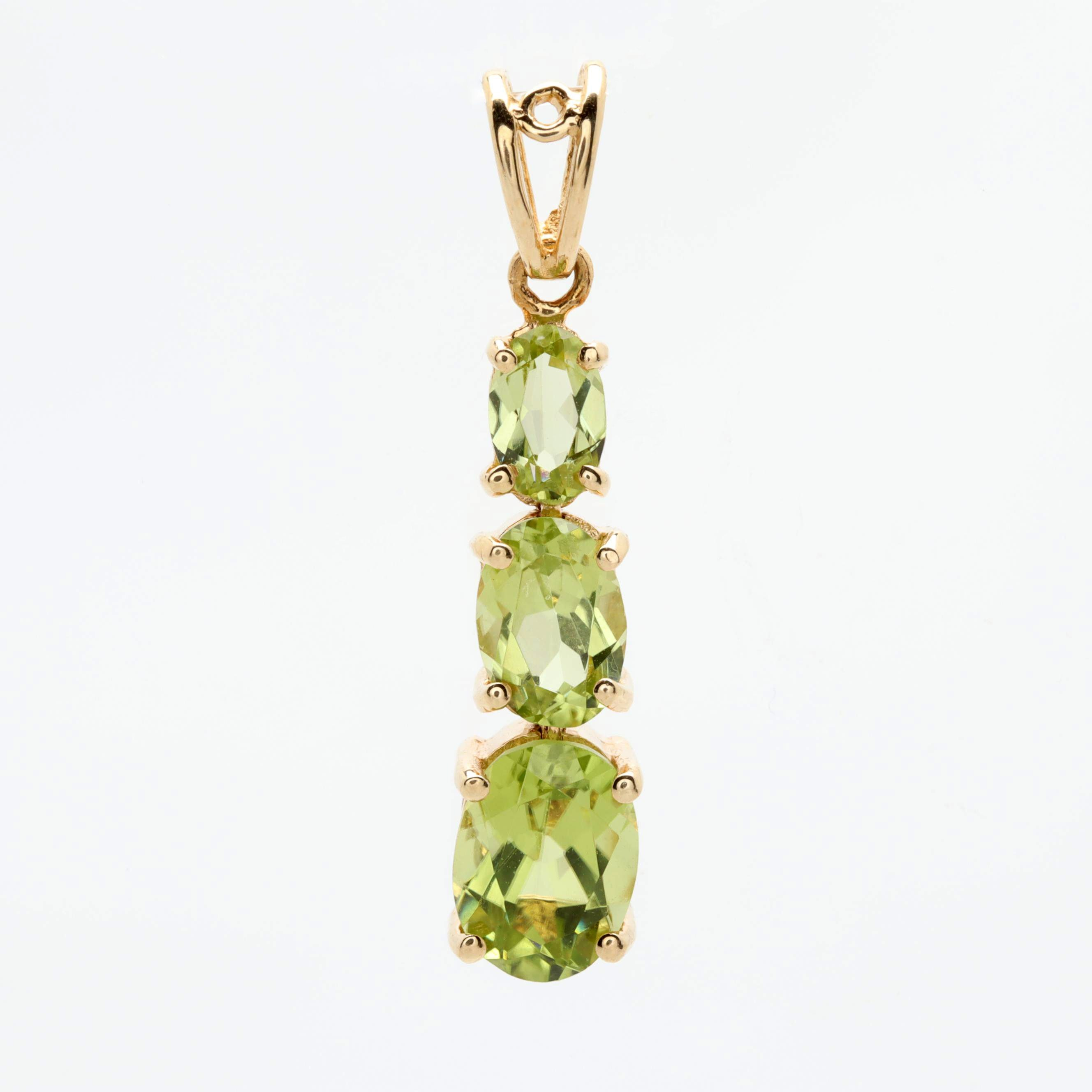 14K Yellow Gold Peridot Pendant