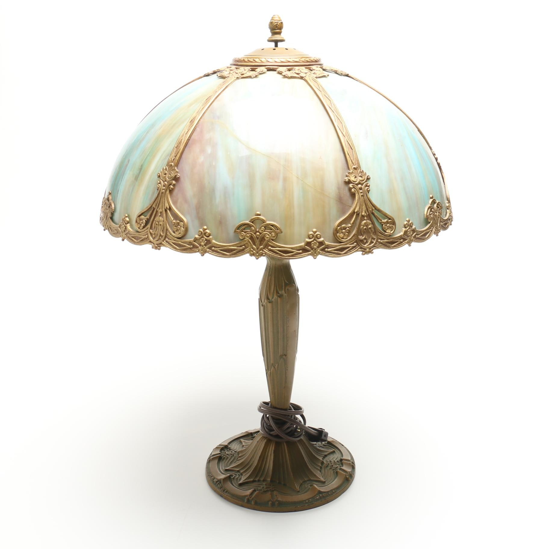 Vintage Slag Glass Table Lamp with Reticulated Overlay