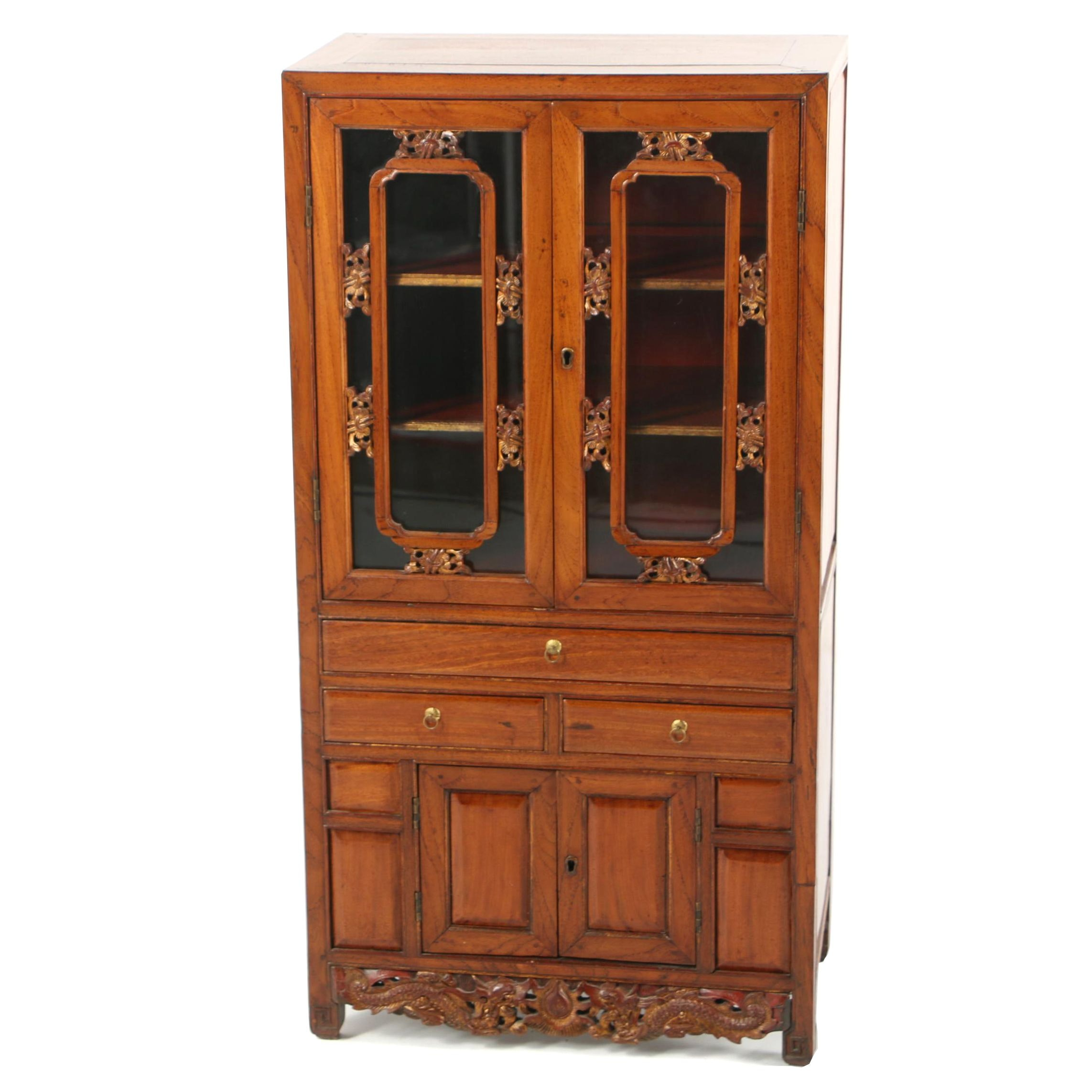 Vintage Asian Style Carved Exotic Hardwood Cabinet
