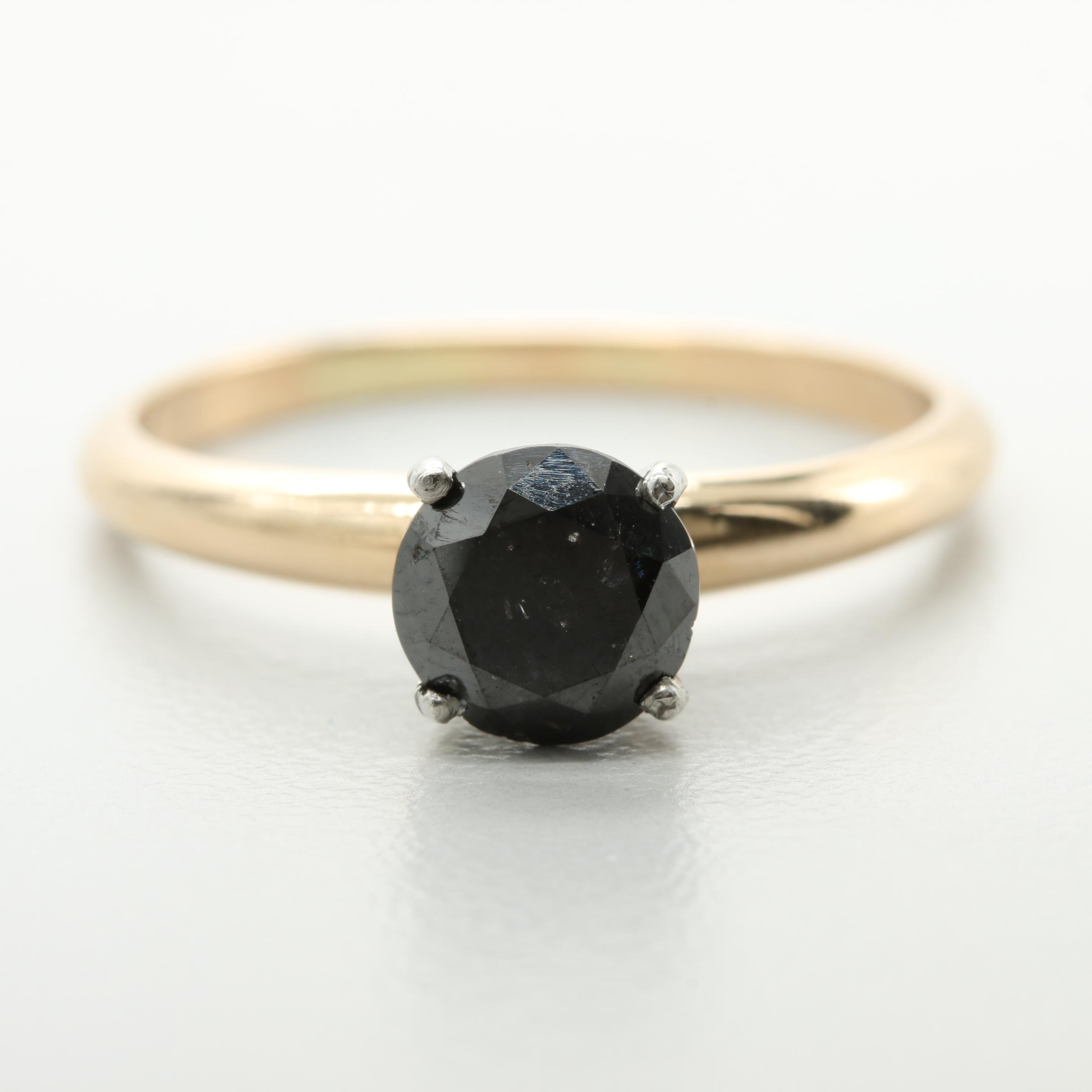 14K Yellow Gold 1.06 CT Black Diamond Solitaire Ring with White Gold Accents