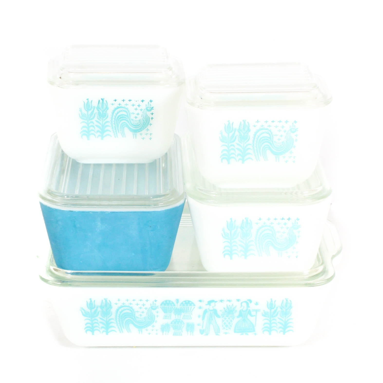 "Vintage Pyrex ""Butterprint Turquoise"" Glass Refridgerator Containers"