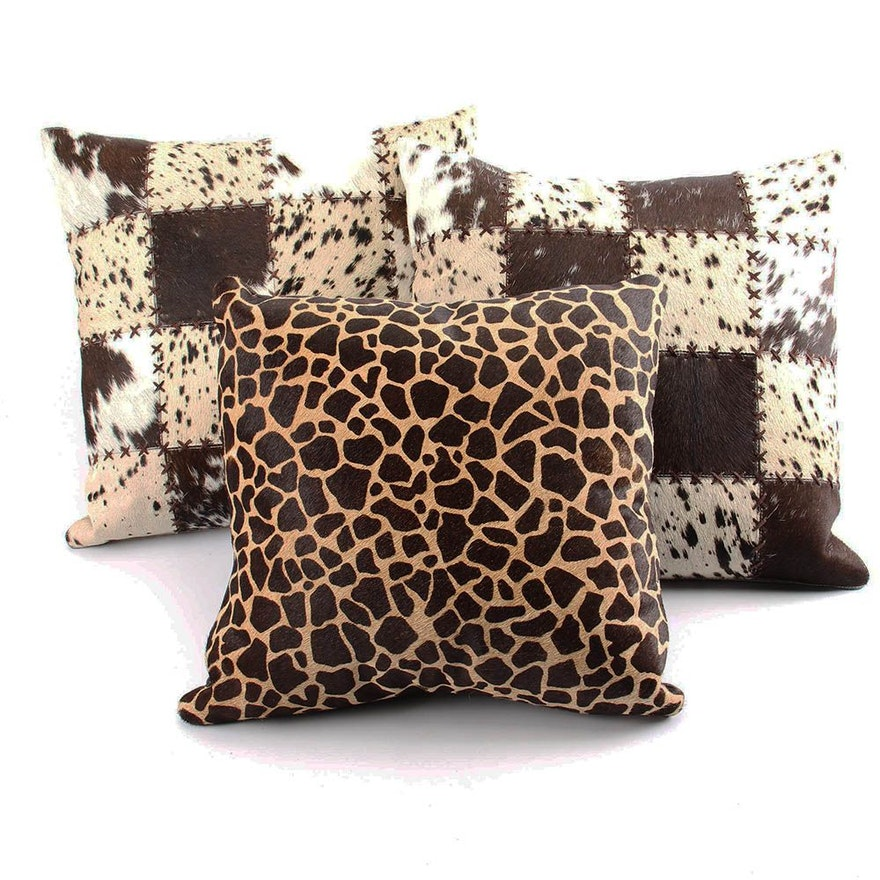 Cowhide Patchwork and Animal Print Accent Pillows