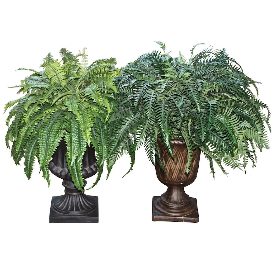 Two Artificial Fern Plants In Classical Vases Ebth