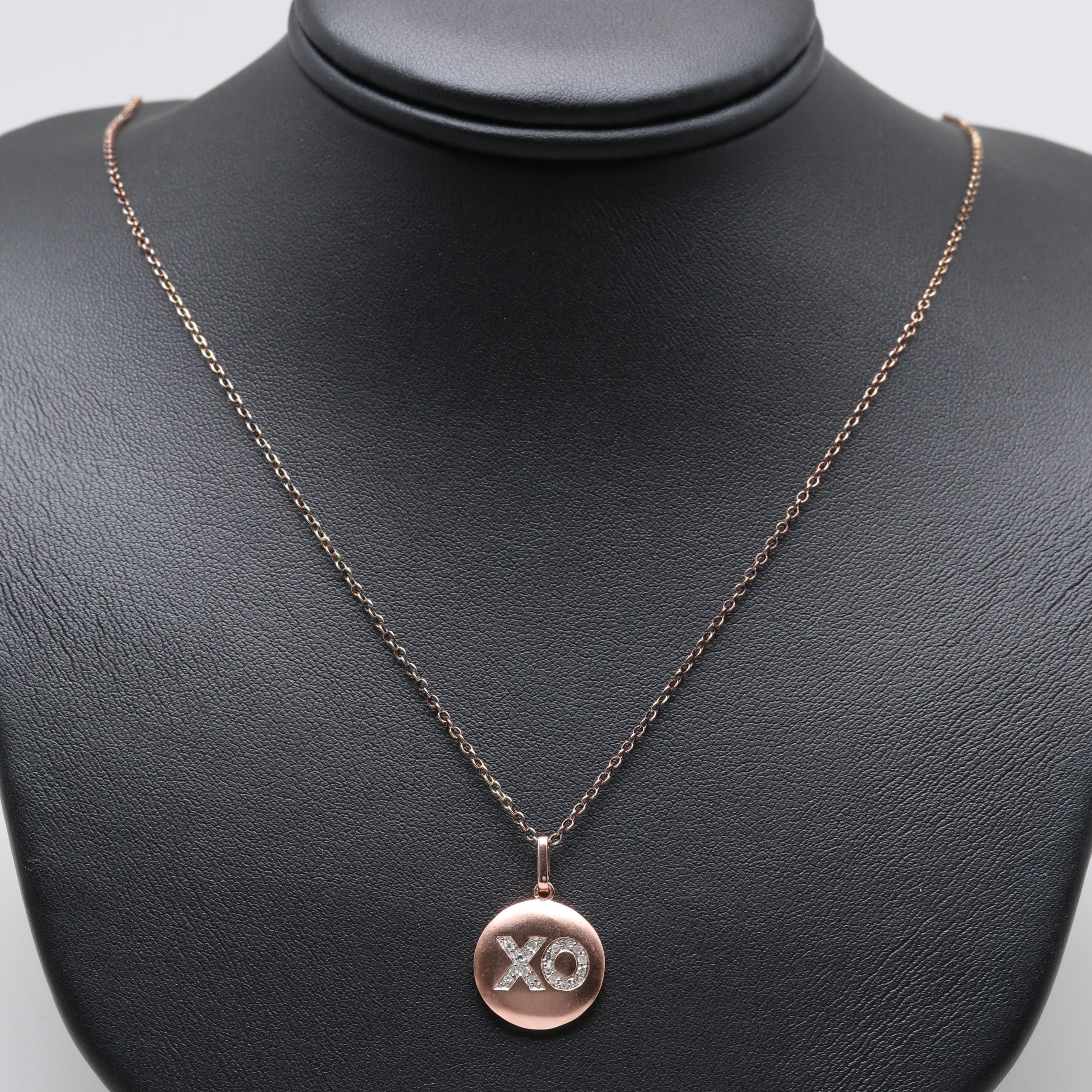 Rose Gold Wash on Sterling Silver Diamond Pendant Necklace