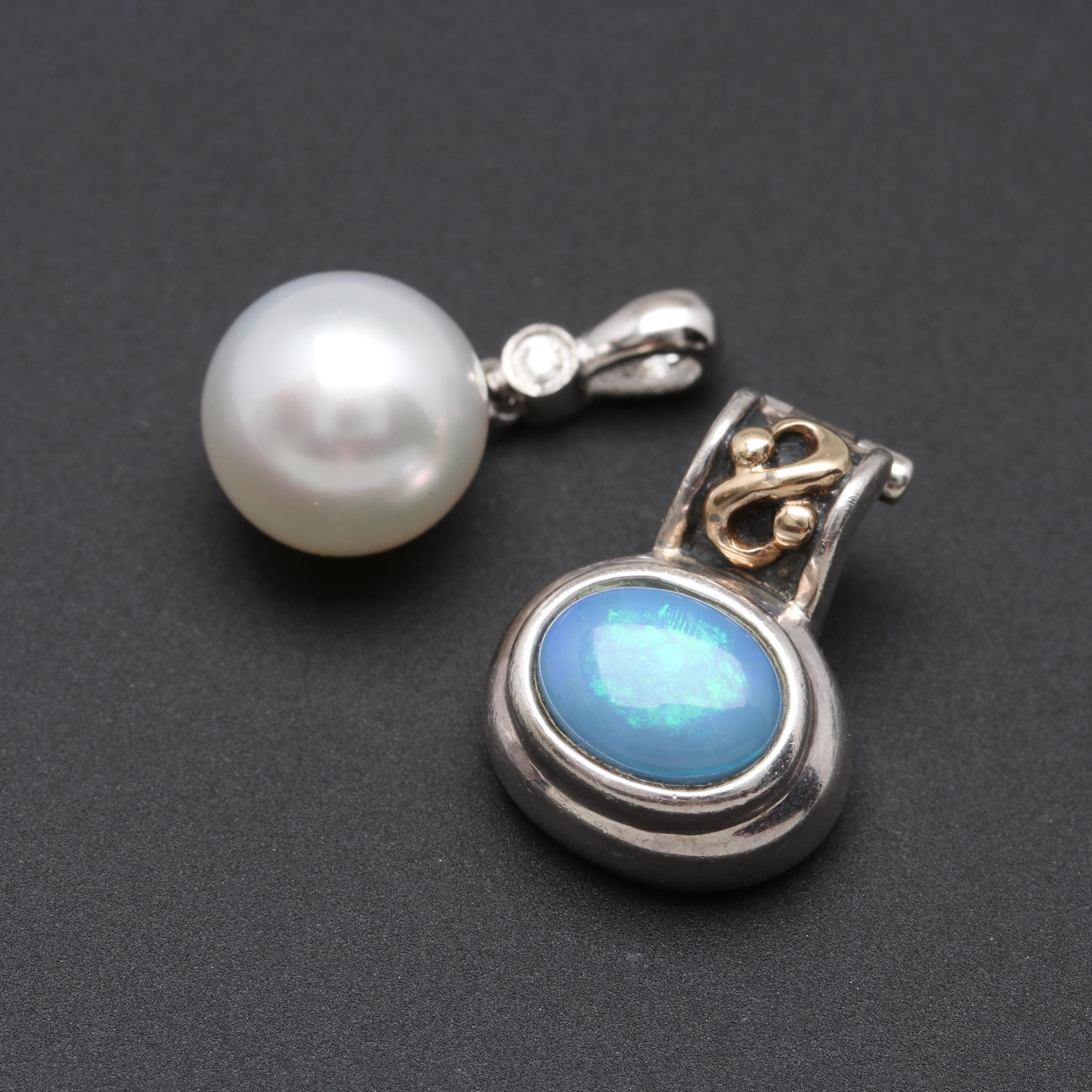 Sterling Cultured Pearl, Diamond and Opal Doublet Pendants with 14K Gold Accent