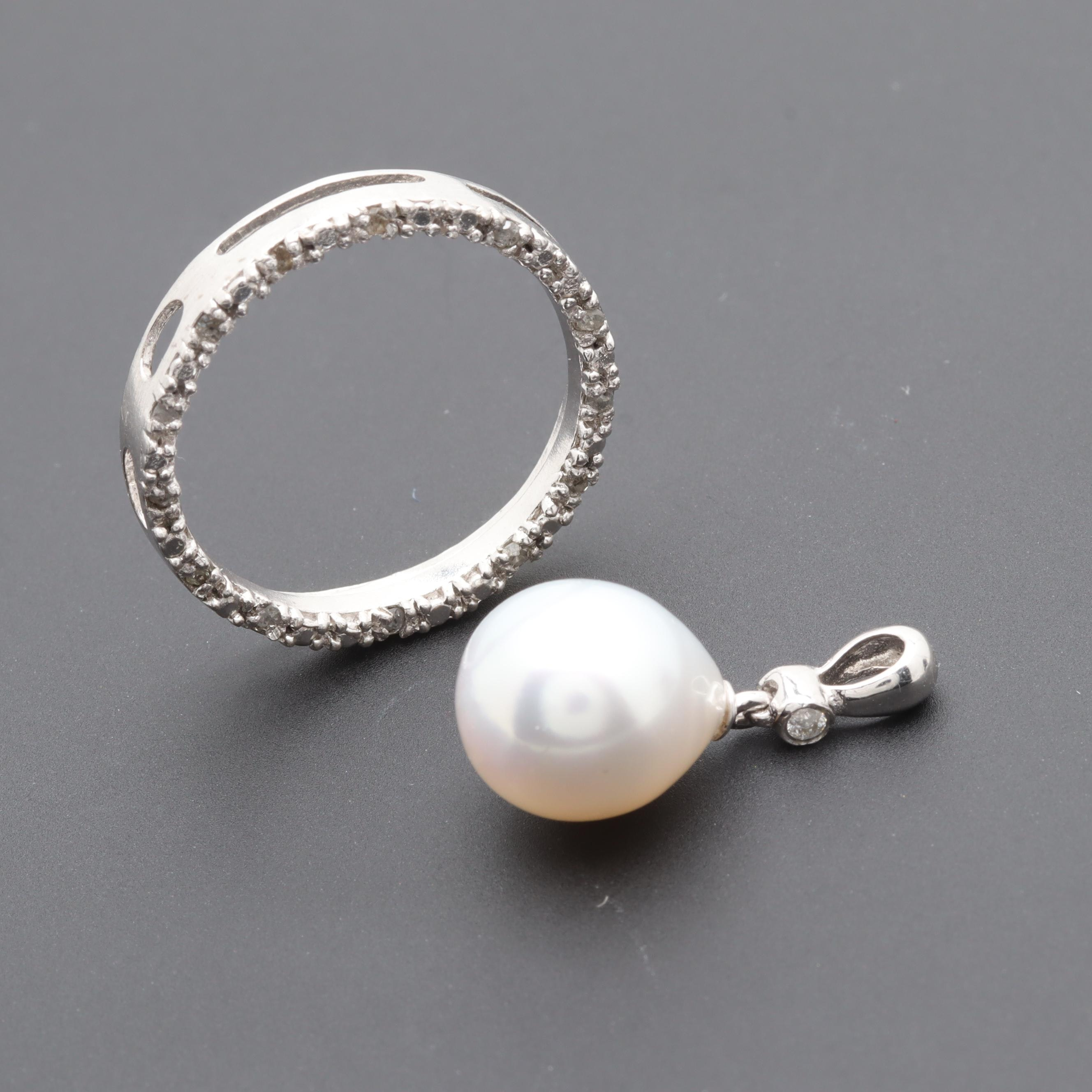 Sterling Silver Cultured Pearl and Diamond Pendants