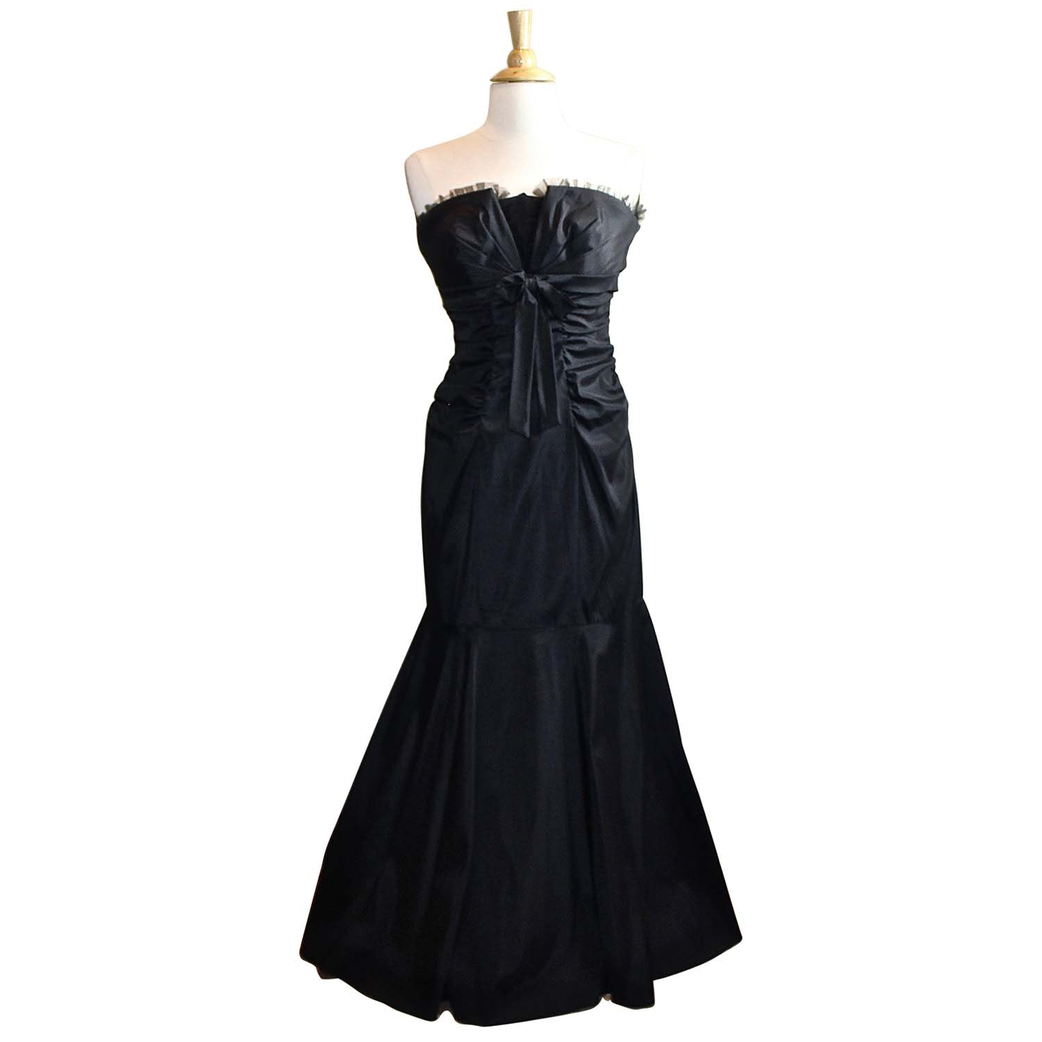 XSCAPE by Joanna Chen Black Strapless Gown