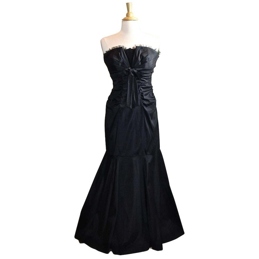 XSCAPE by Joanna Chen Black Strapless Gown : EBTH