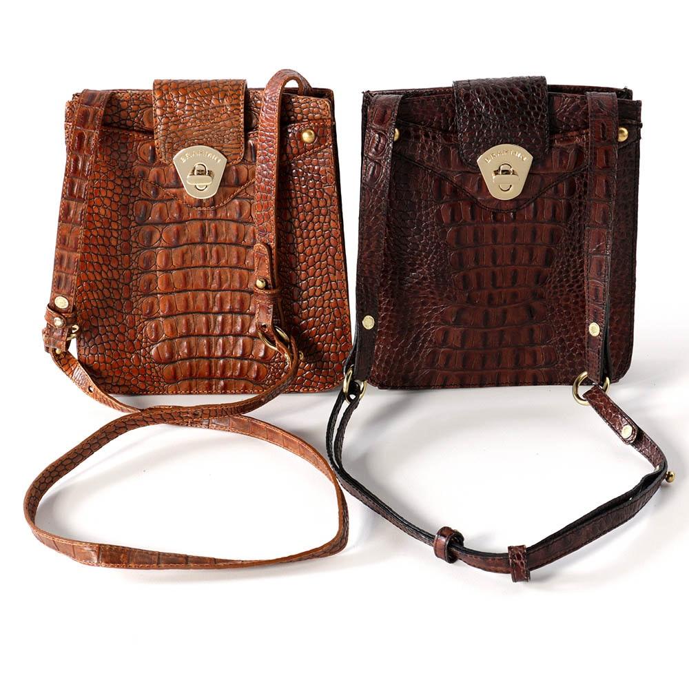 Brahmin Crocodile Embossed Brown Leather Shoulder Bags