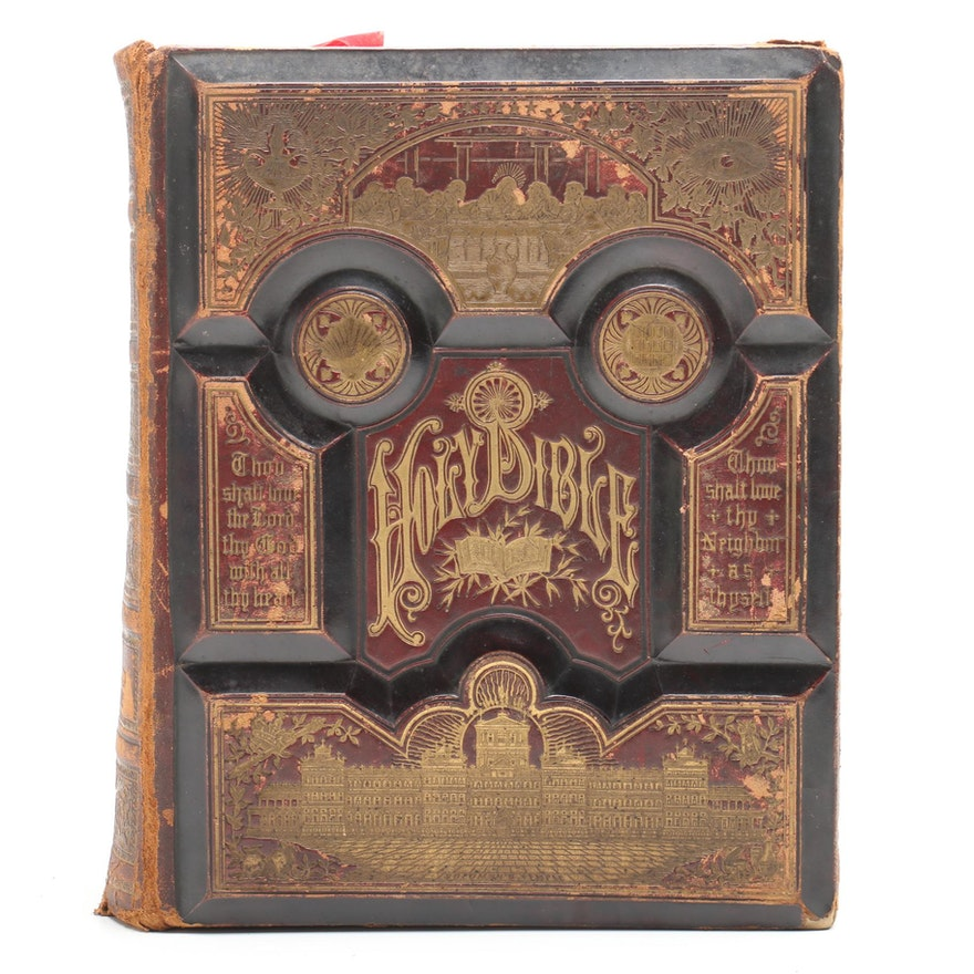 1886 Embossed Leather Bound Illustrated Bible