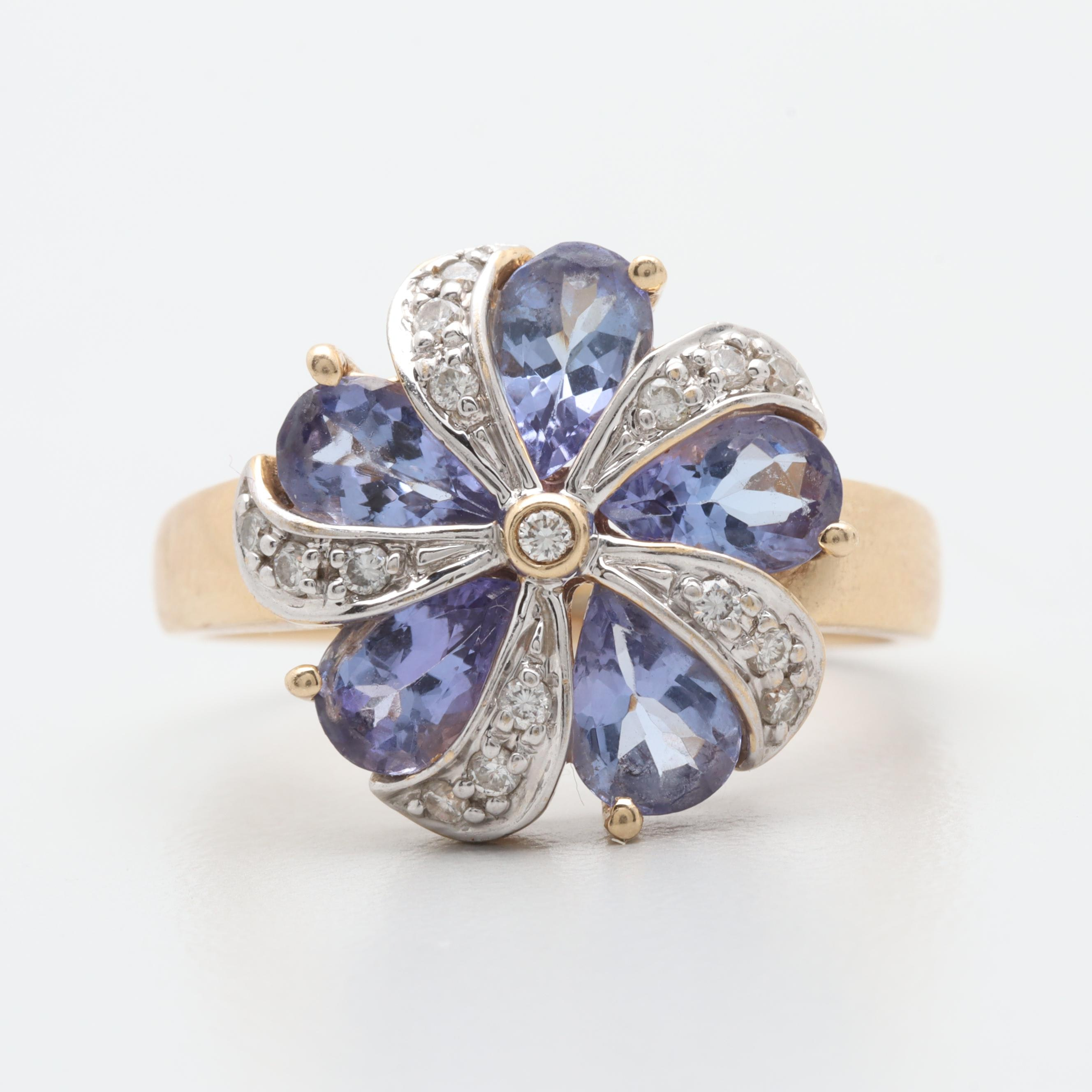 LeVian 14K Yellow Gold Tanzanite and Diamond Floral Motif Ring
