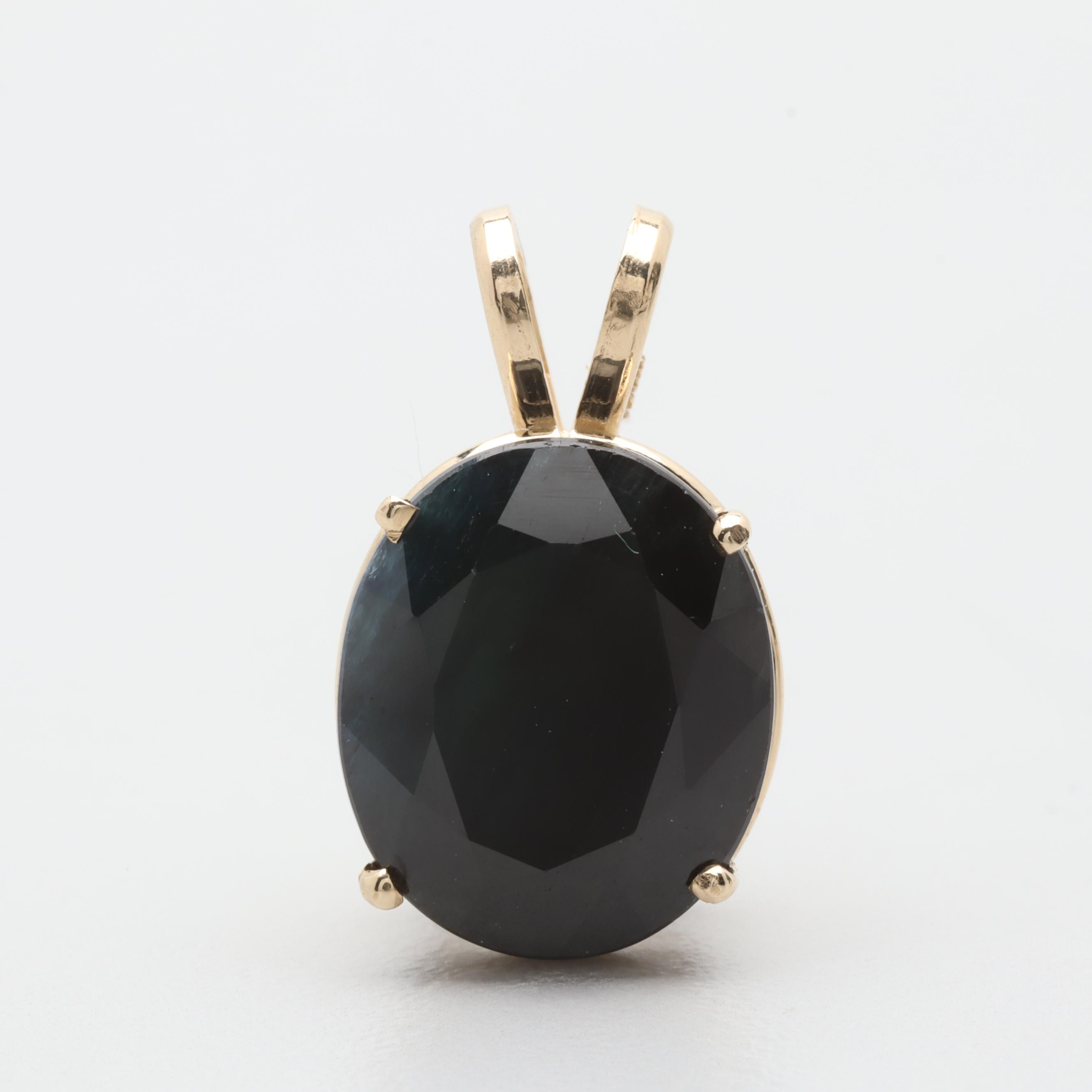 14K Yellow Gold 6.03 CT Sapphire Pendant