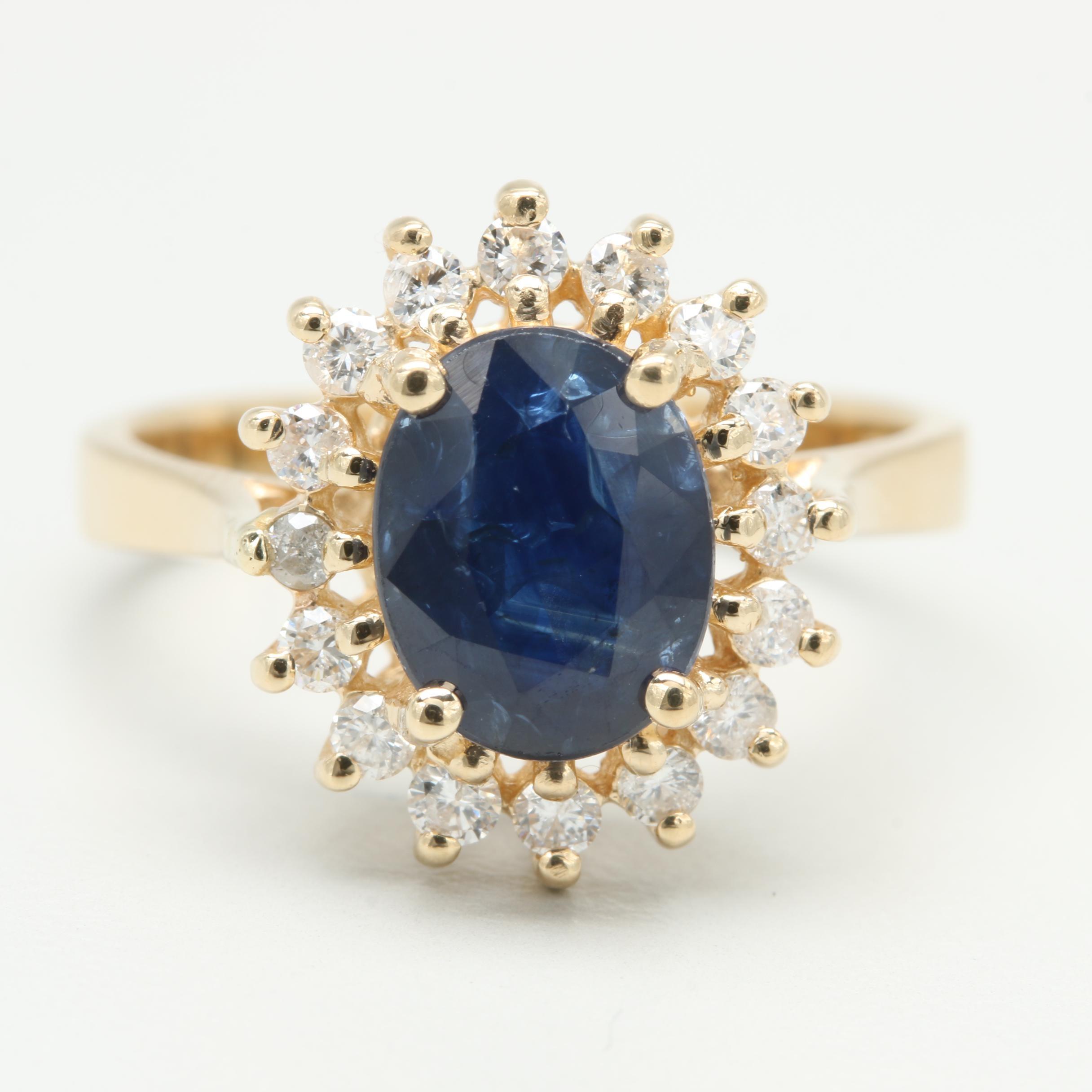 Effy 14K Yellow Gold 1.77 Ct Blue Sapphire and Diamond Ring