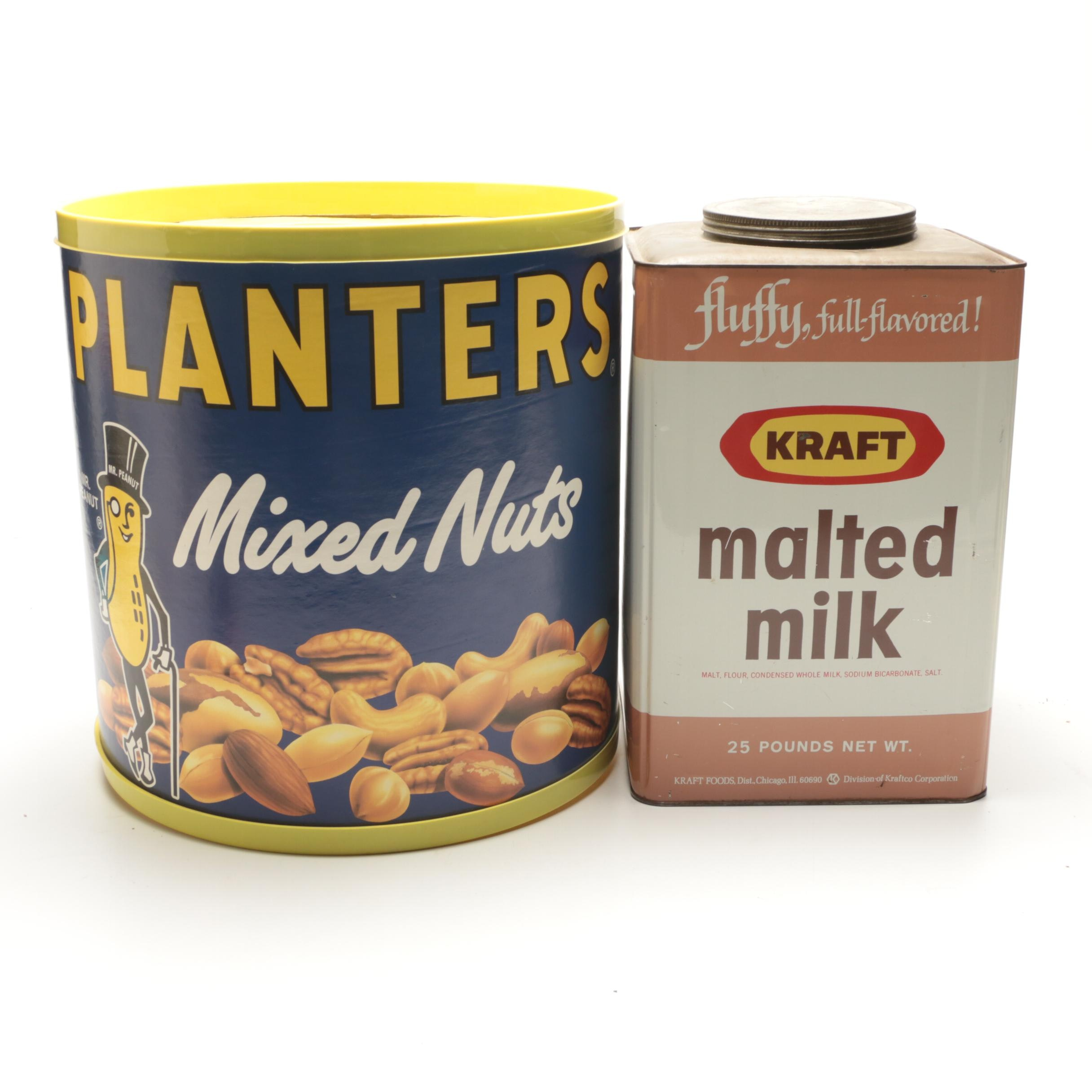 Planters Mixed Nuts Display with Kraft 25 Pound Malted Milk Tin