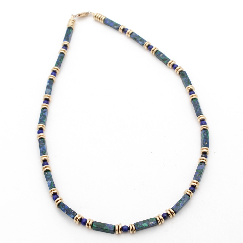 Sterling Silver Necklace with Azurite and Lapis Lazuli