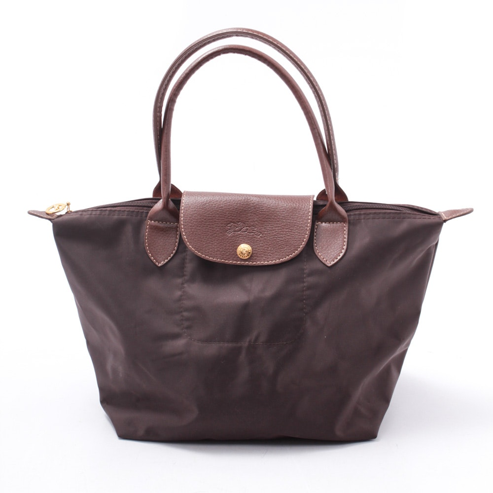 Longchamp Le Pliage Brown Leather and Nylon Tote Bag
