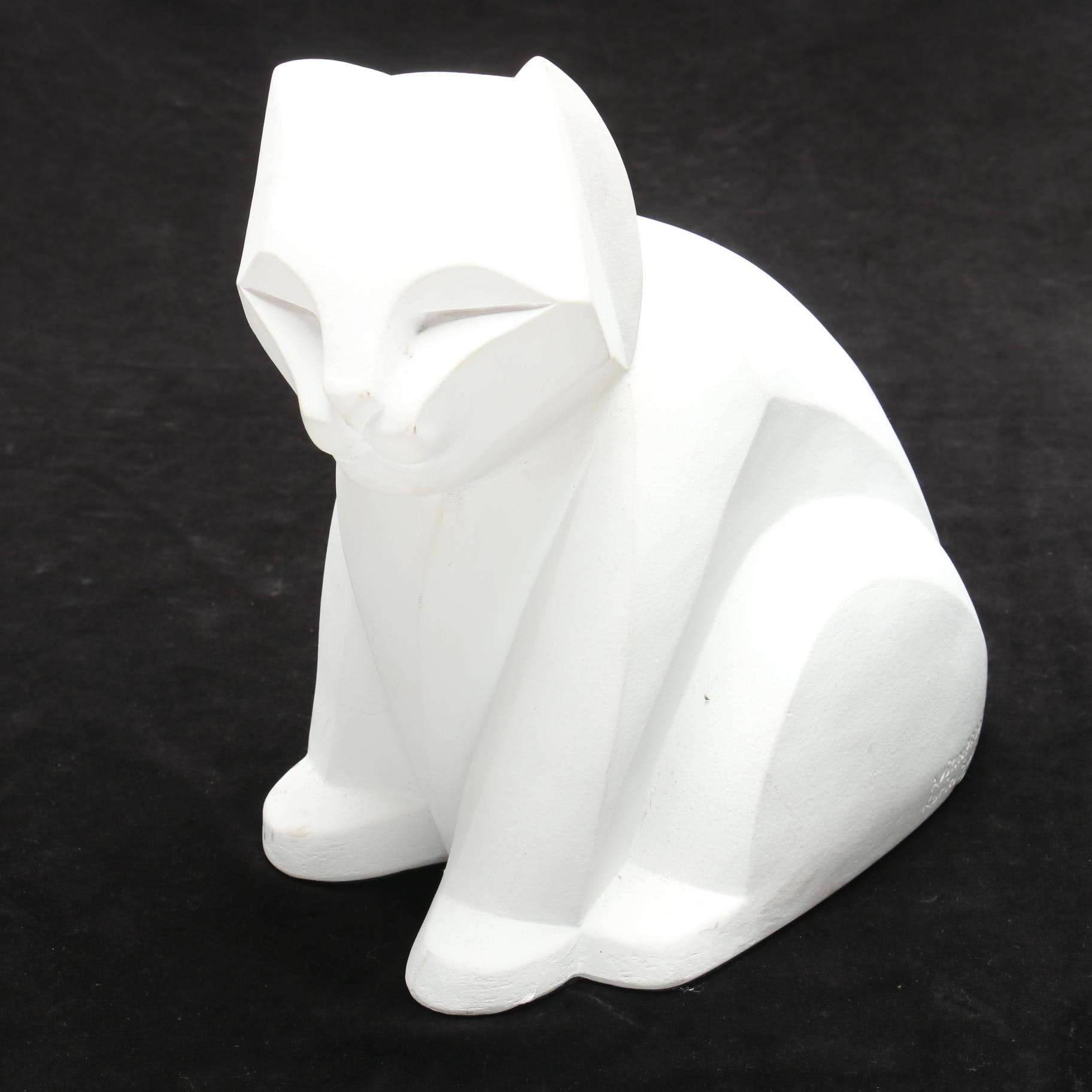 Austin Productions Karin Swildens Cubist Style  Plaster Cat Figure