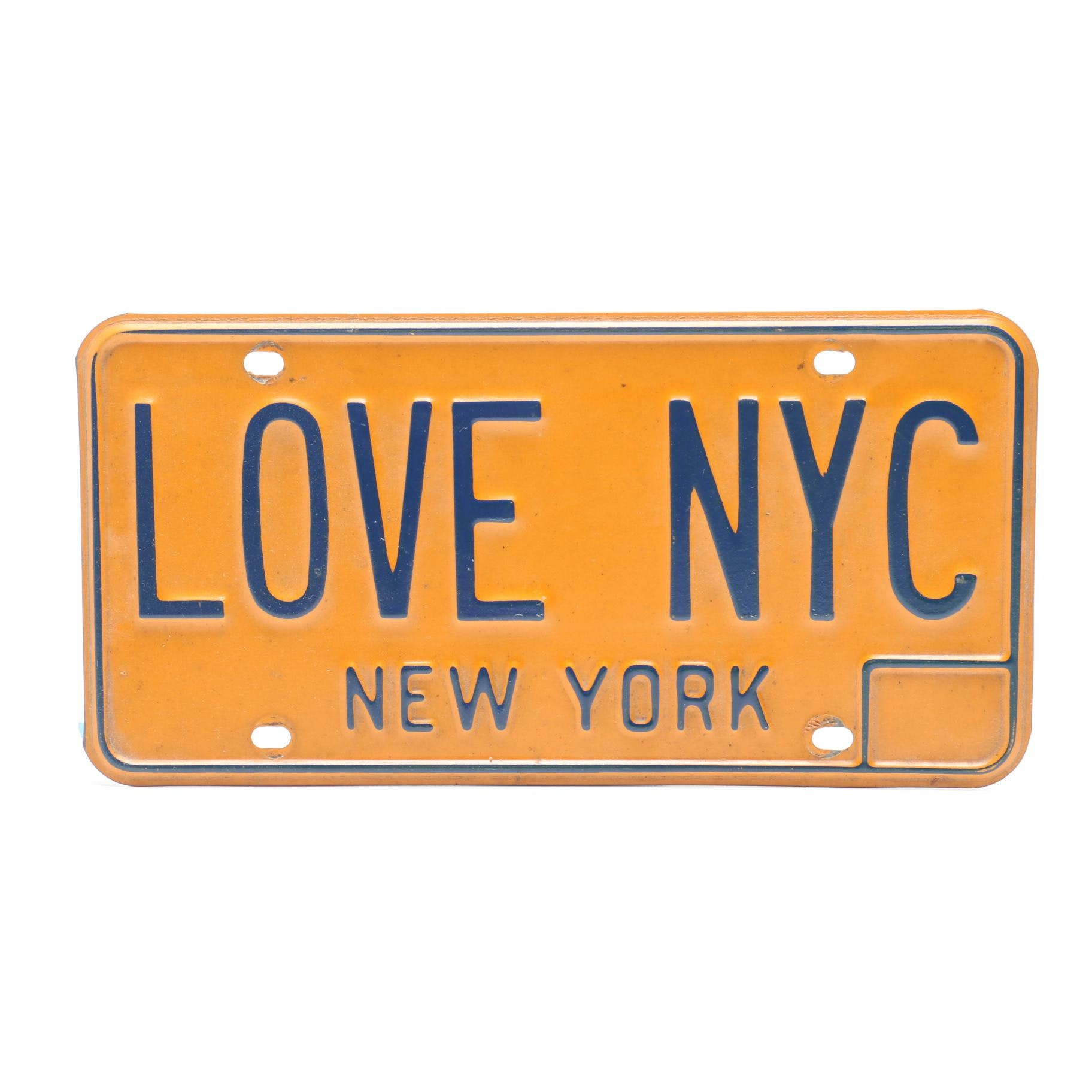 LOVE NYC New York Licence Plate in Orange