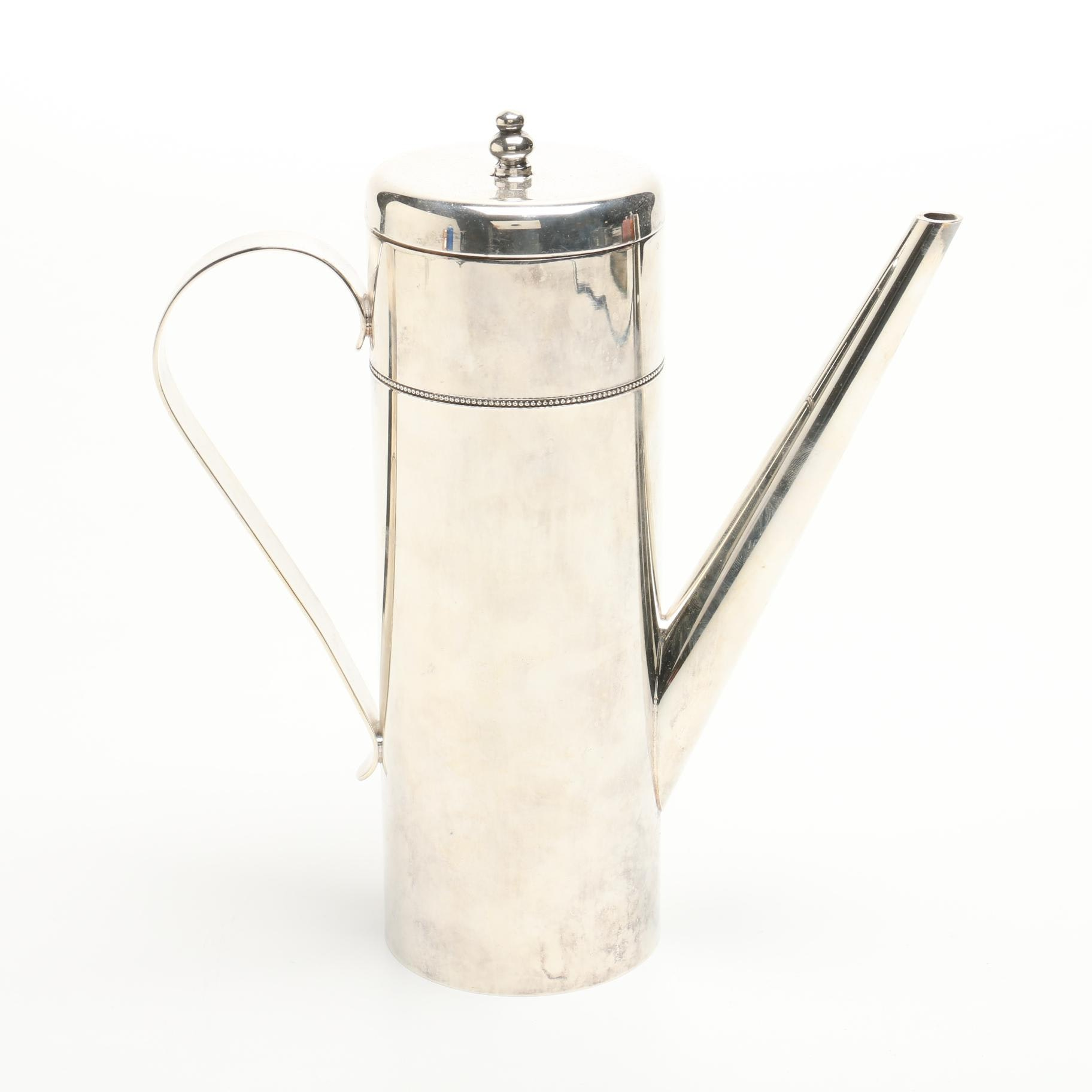 Contemporary Art Deco Style Silver Plated Tea Pot