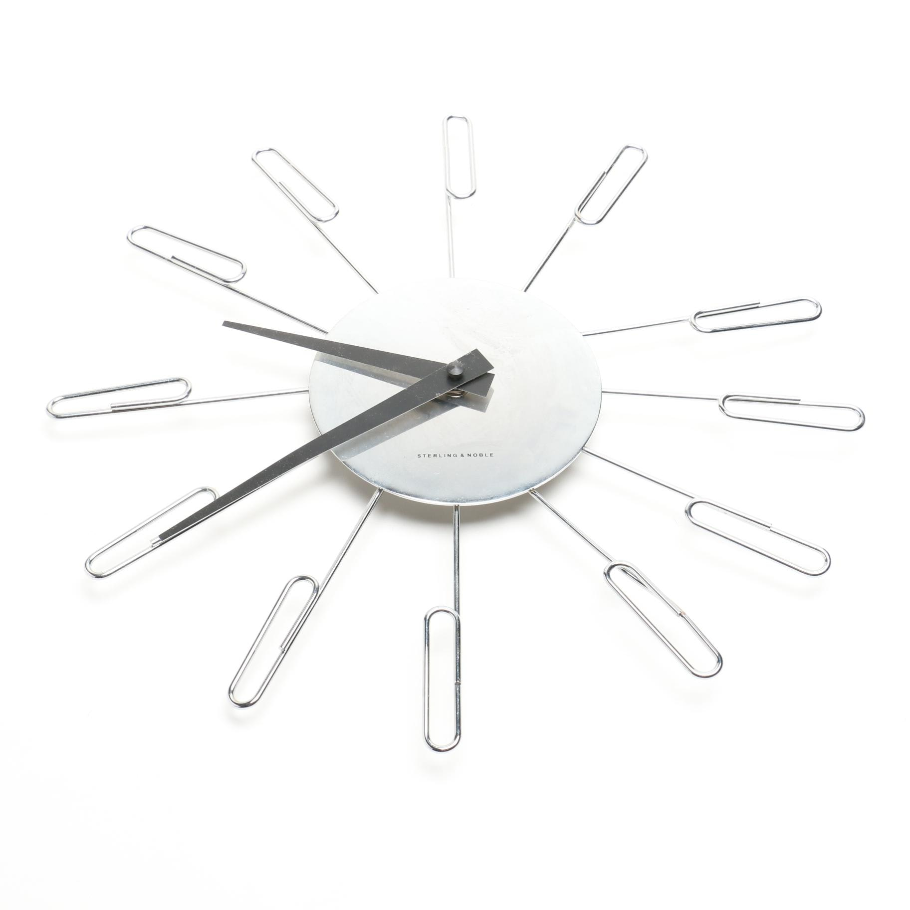 Sterling & Noble Paper Clip Style Battery Operated Wall Clock
