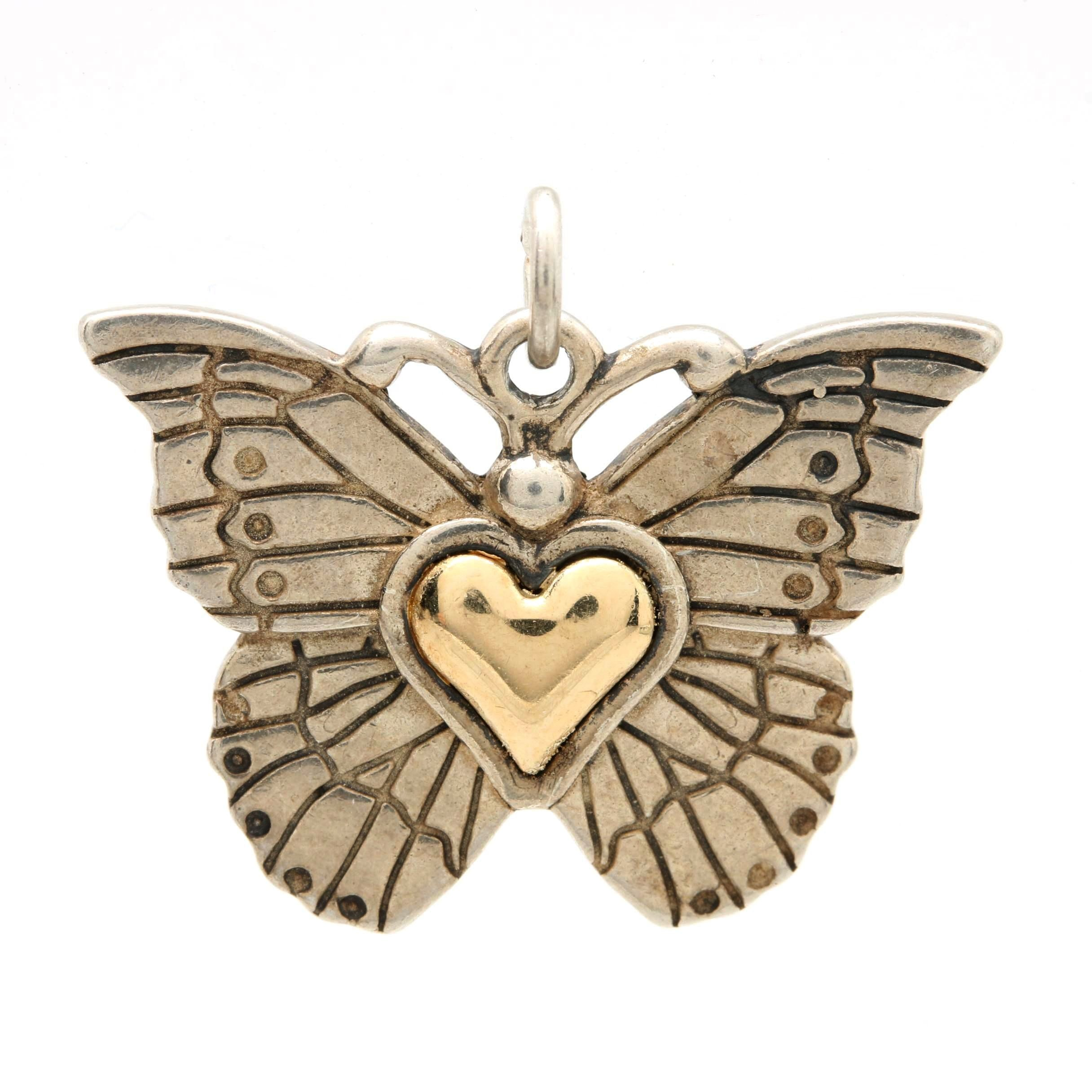 Sterling Silver Butterfly Pendant with a Heart of 14K Yellow Gold