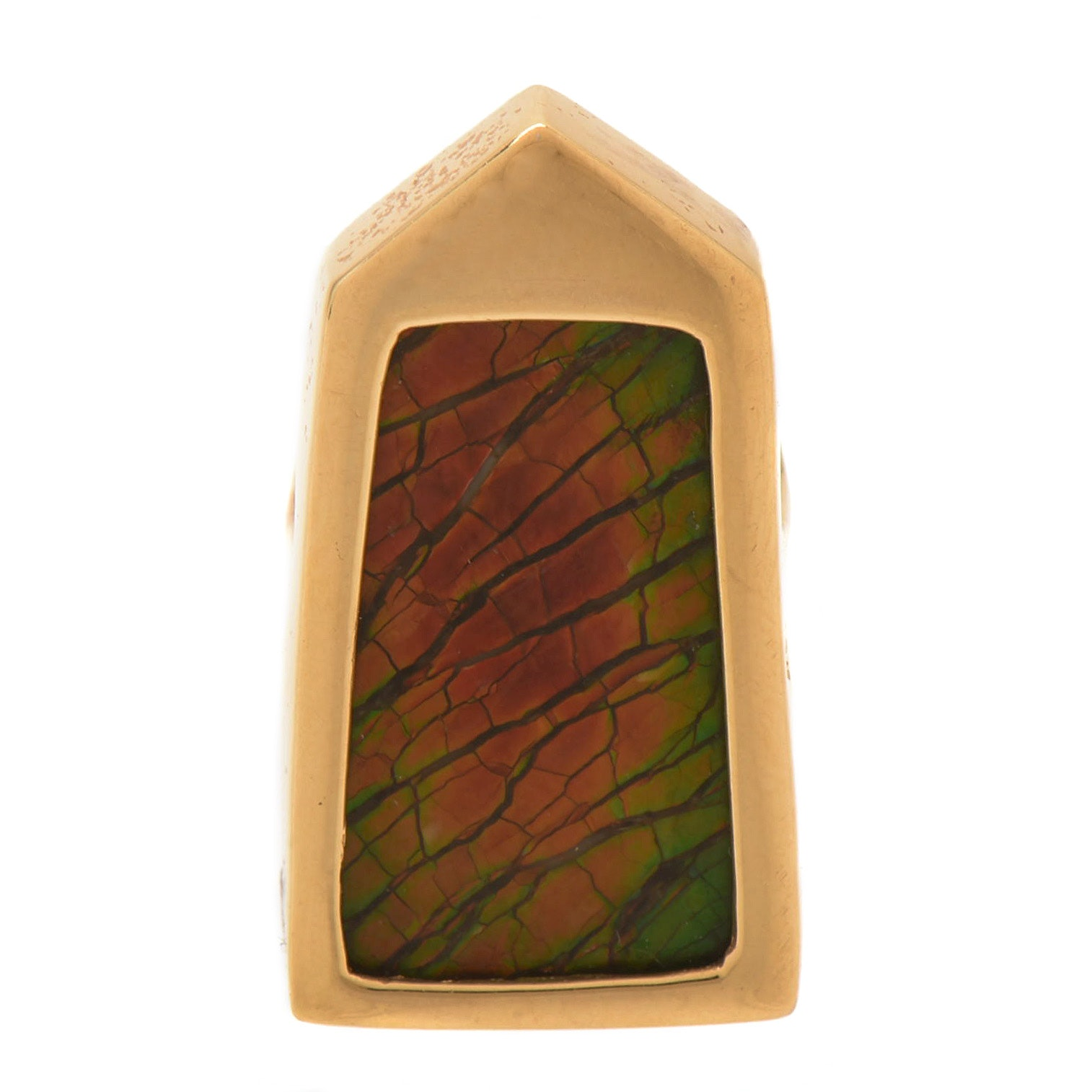 18K Yellow Gold  and Ammolite Converter Brooch with 14K Yellow Gold Back