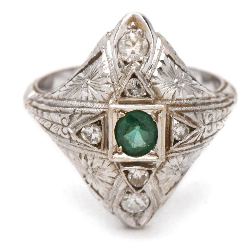 aca6cfddb1f6 Art Deco 14K White Gold Garnet Glass Doublet and Diamond Ring   EBTH