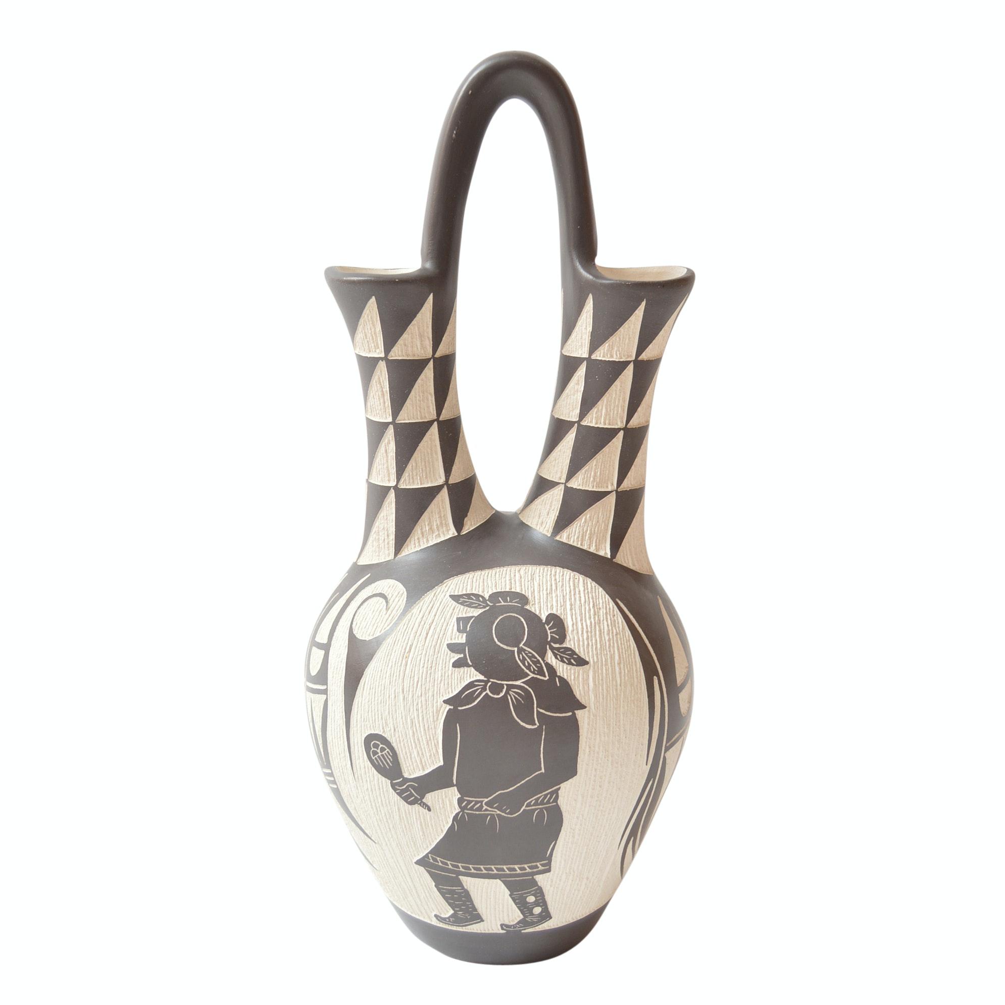Arthur Lucario Signed Laguna Etched Pottery Wedding Vase