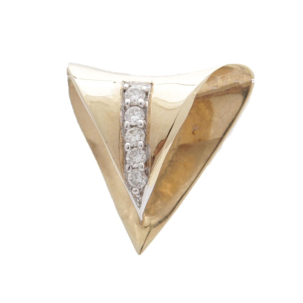 14K Yellow Gold and Diamond Slide Pendant