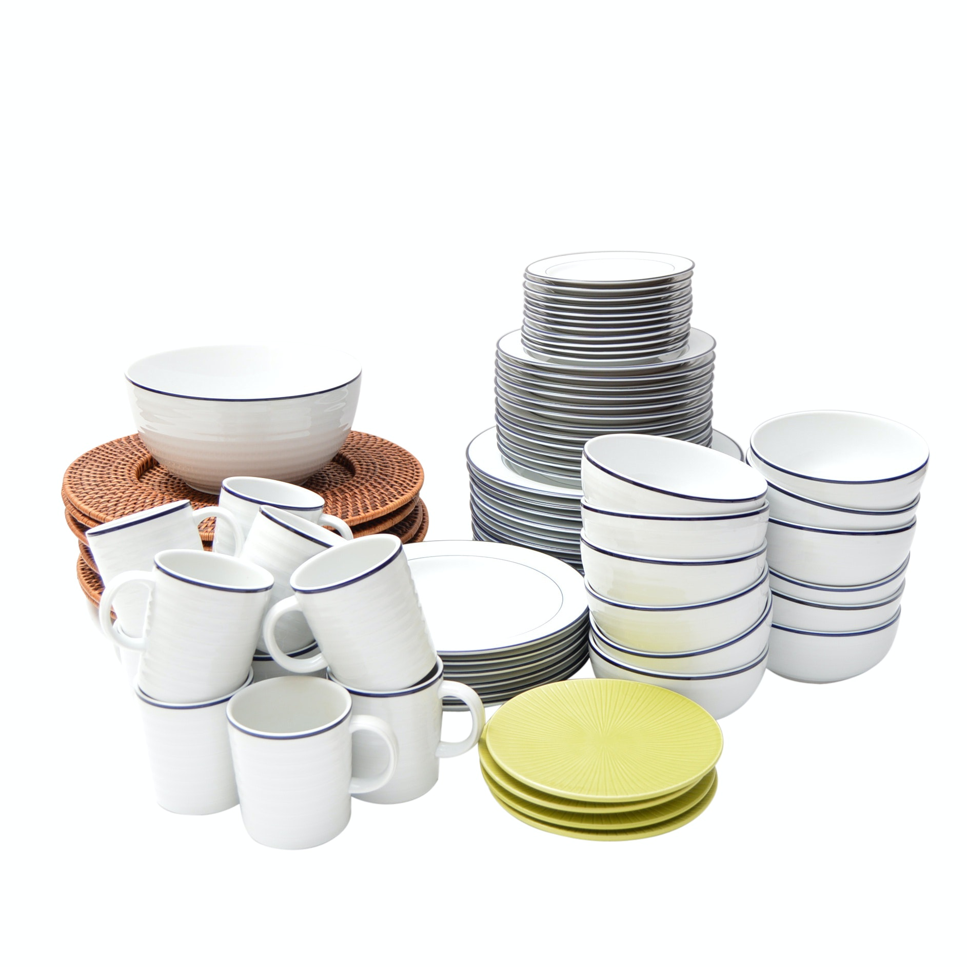 Set of Crate & Barrel Dinnerware with Rattan Chargers