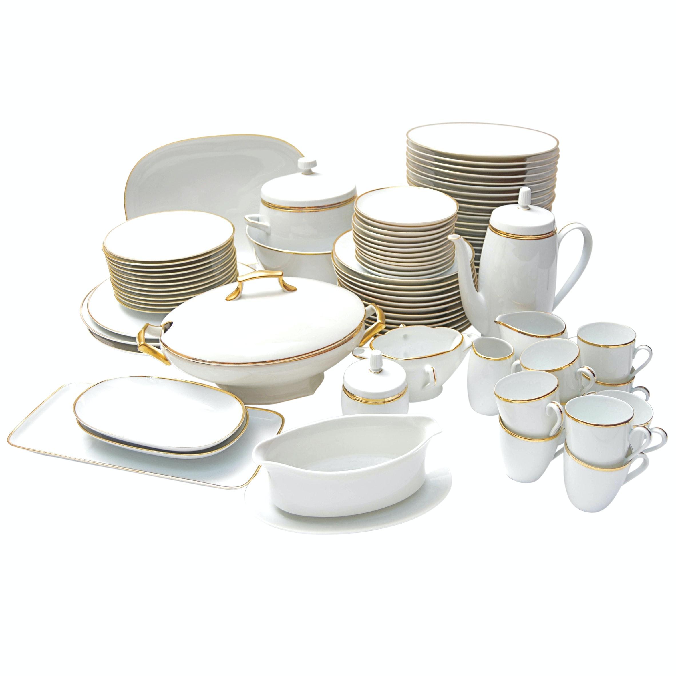 German Gold-Banded Porcelain Dinner Service