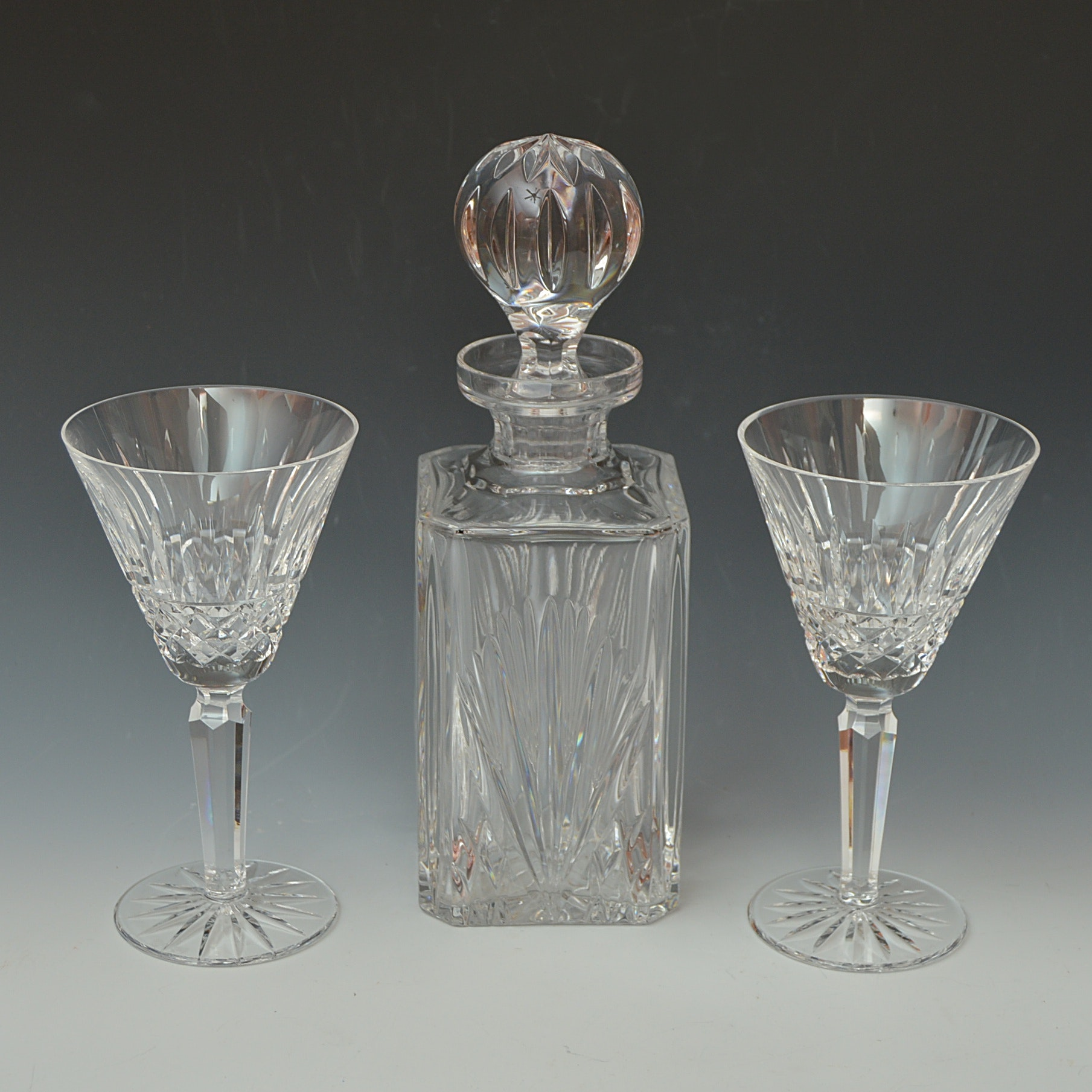 "Waterford Crystal ""Maeve"" Goblets and Gorham Crystal Decanter"