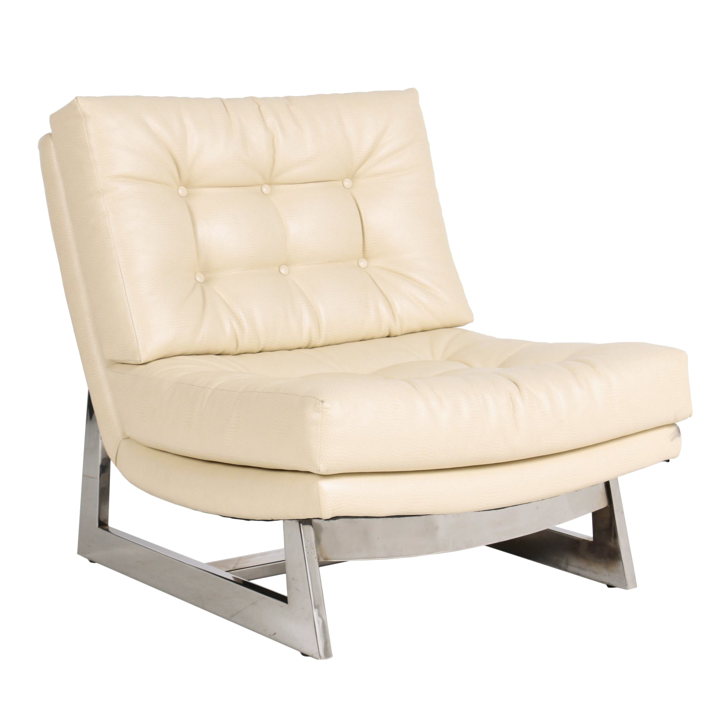 Modernist Style Faux-Ostrich Leather and Chrome Lounge Chair