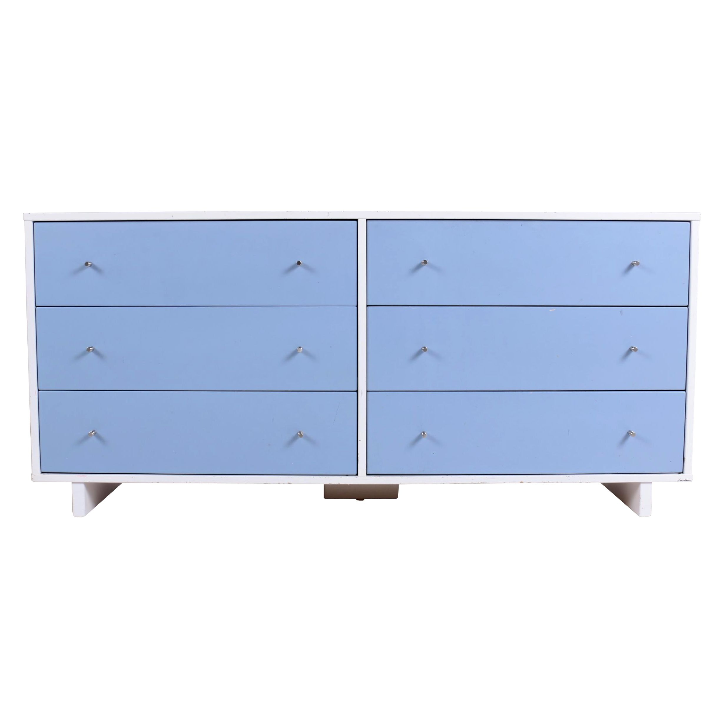 """El Greco Woodworking White- and Blue-Lacquered """"Moda"""" Kids Chest of Drawers"""