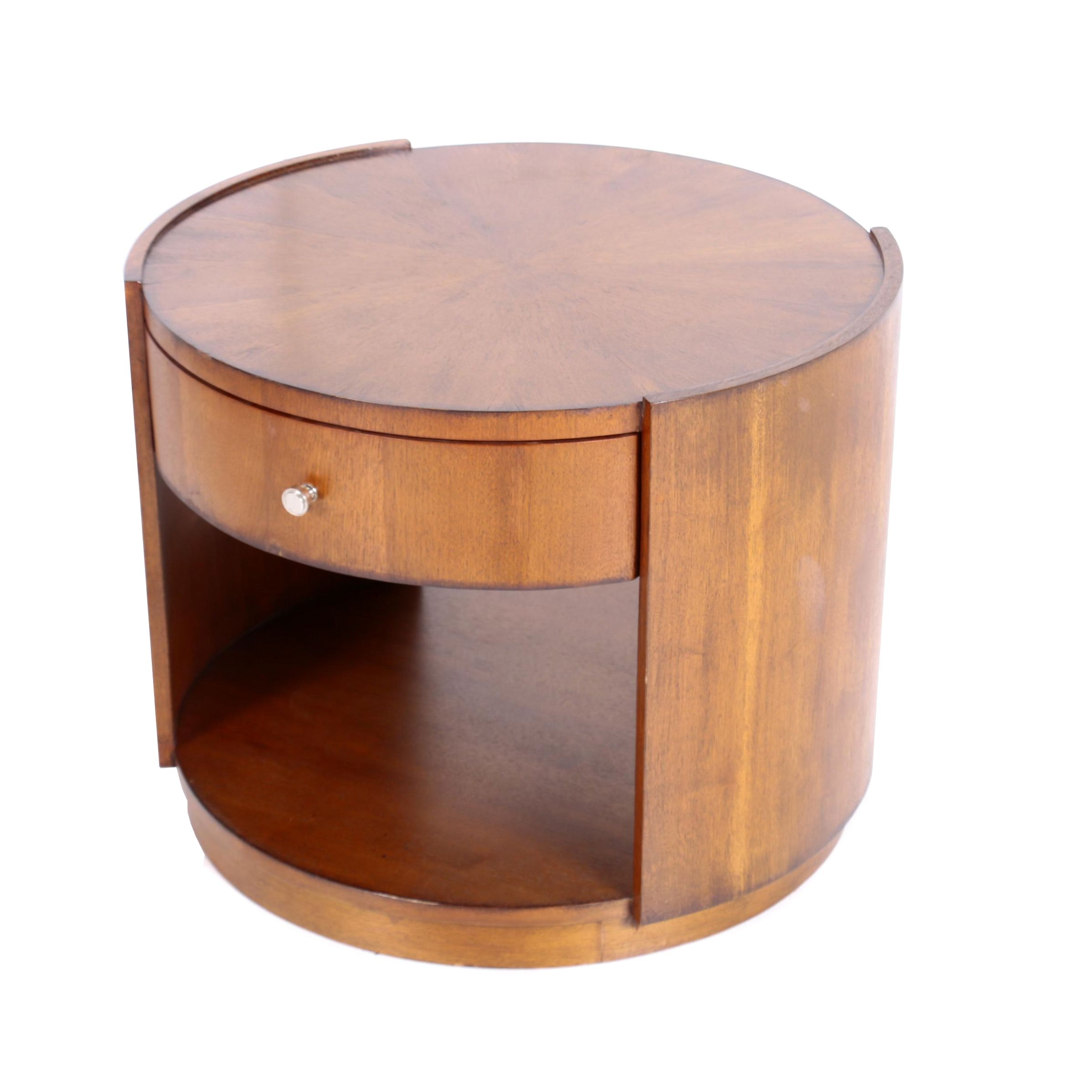 Mitchell Gold + Bob Williams Walnut Two-Tier Round Side Table