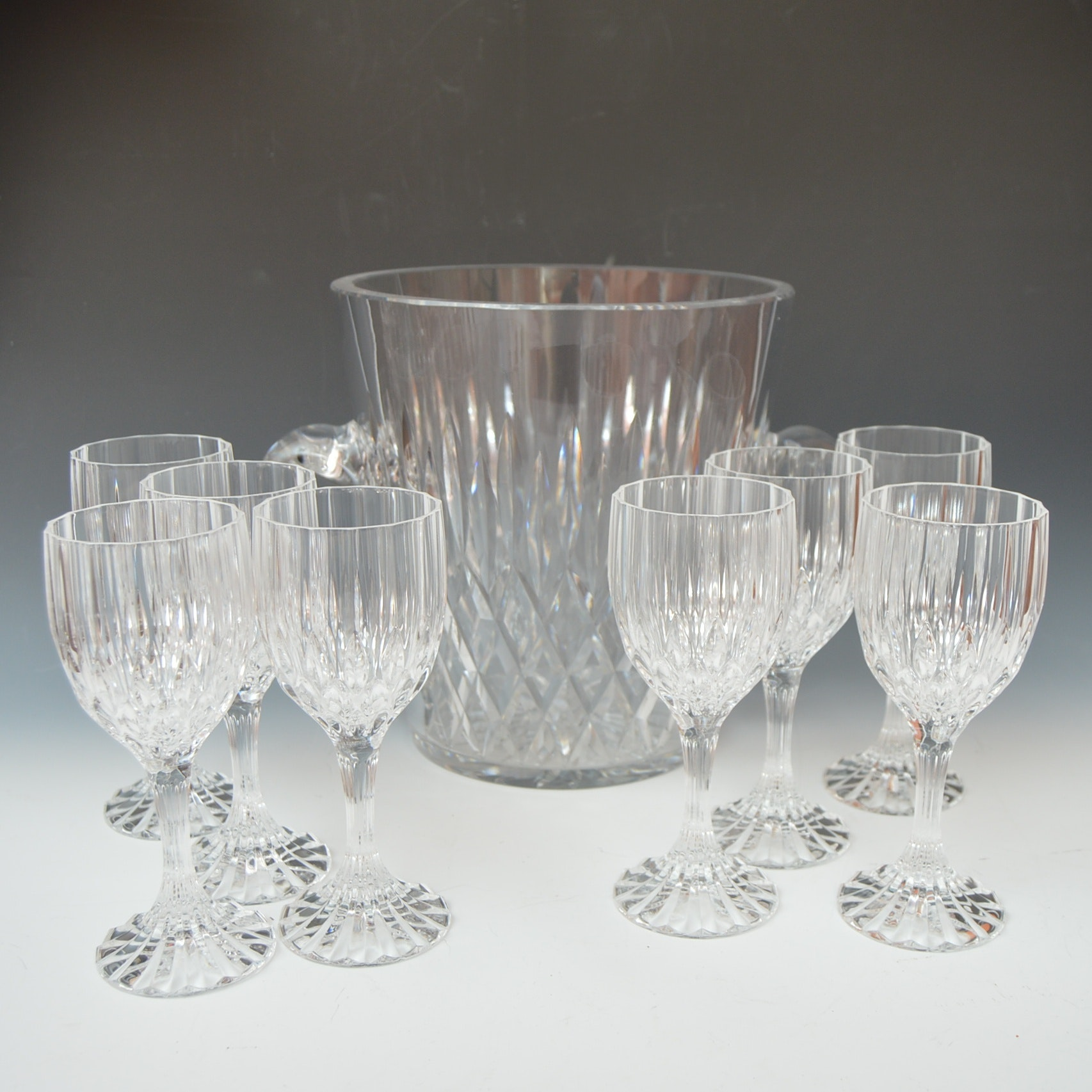 "Mikasa ""Park Lane"" Crystal Stemware and Ice Bucket"