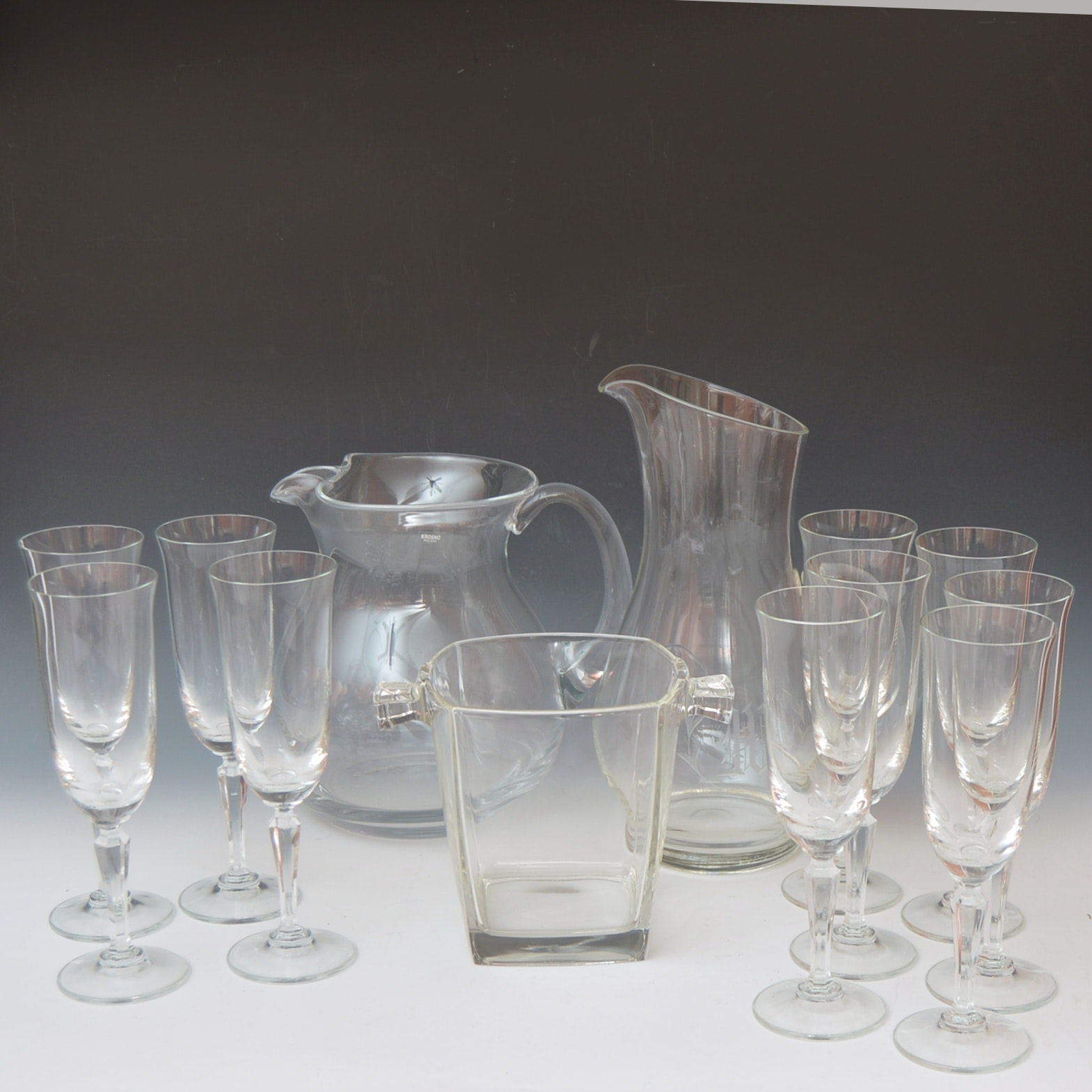 Selection of Crystal and Glass Barware with Pitchers