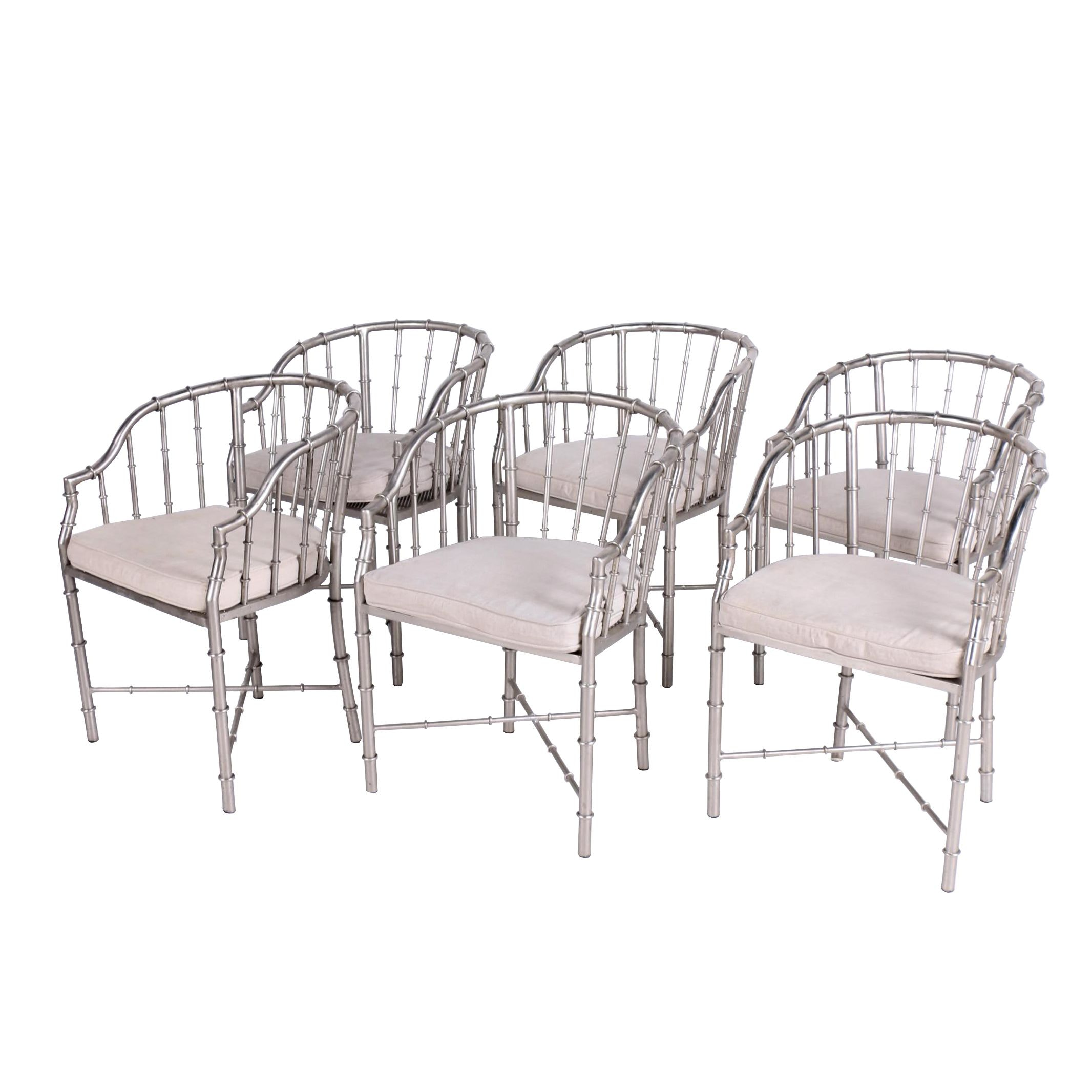 Set of Six Design Workshop Metal Faux-Bamboo Dining Armchairs