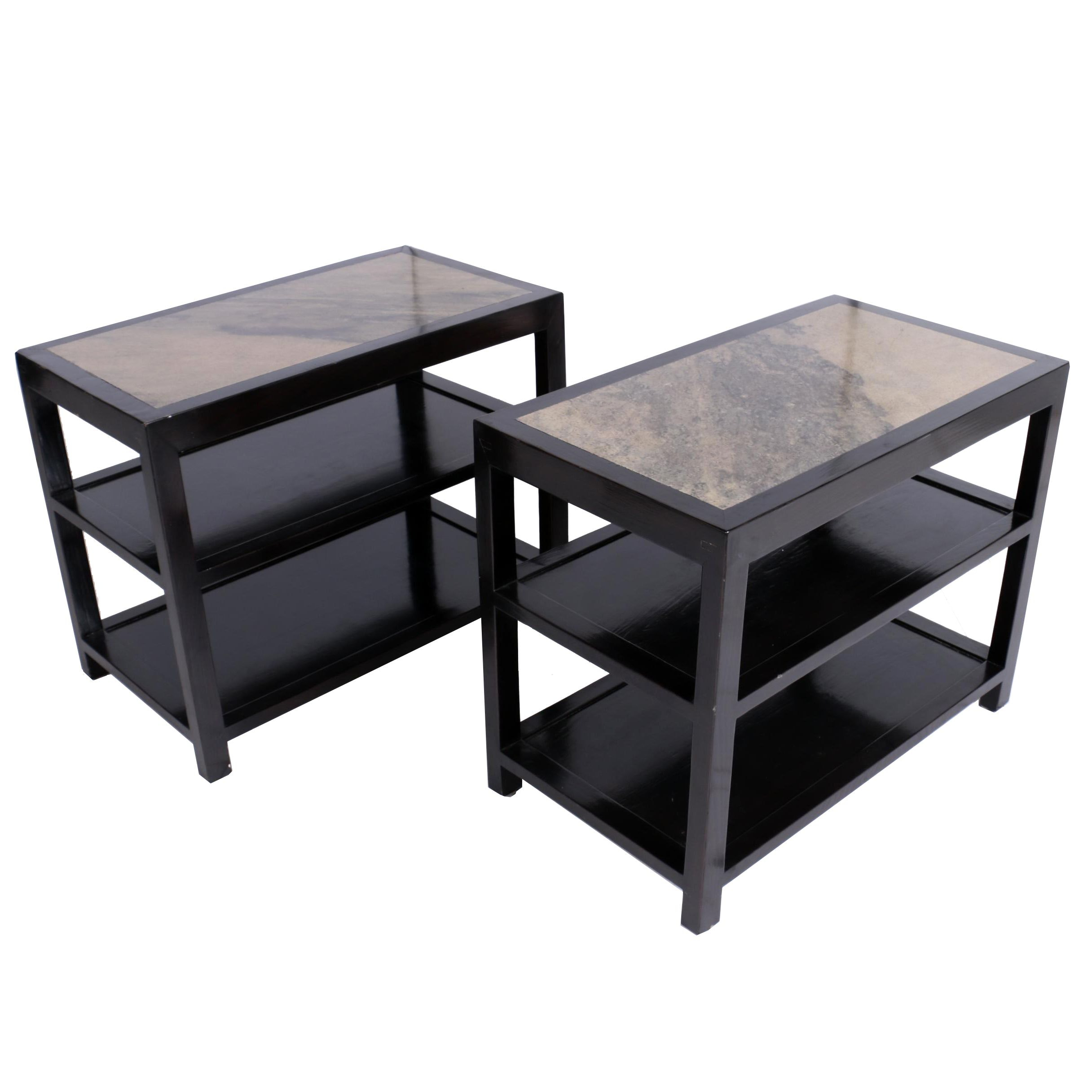 Pair of Ebonized Three-Tier Side Tables with Granite Tops