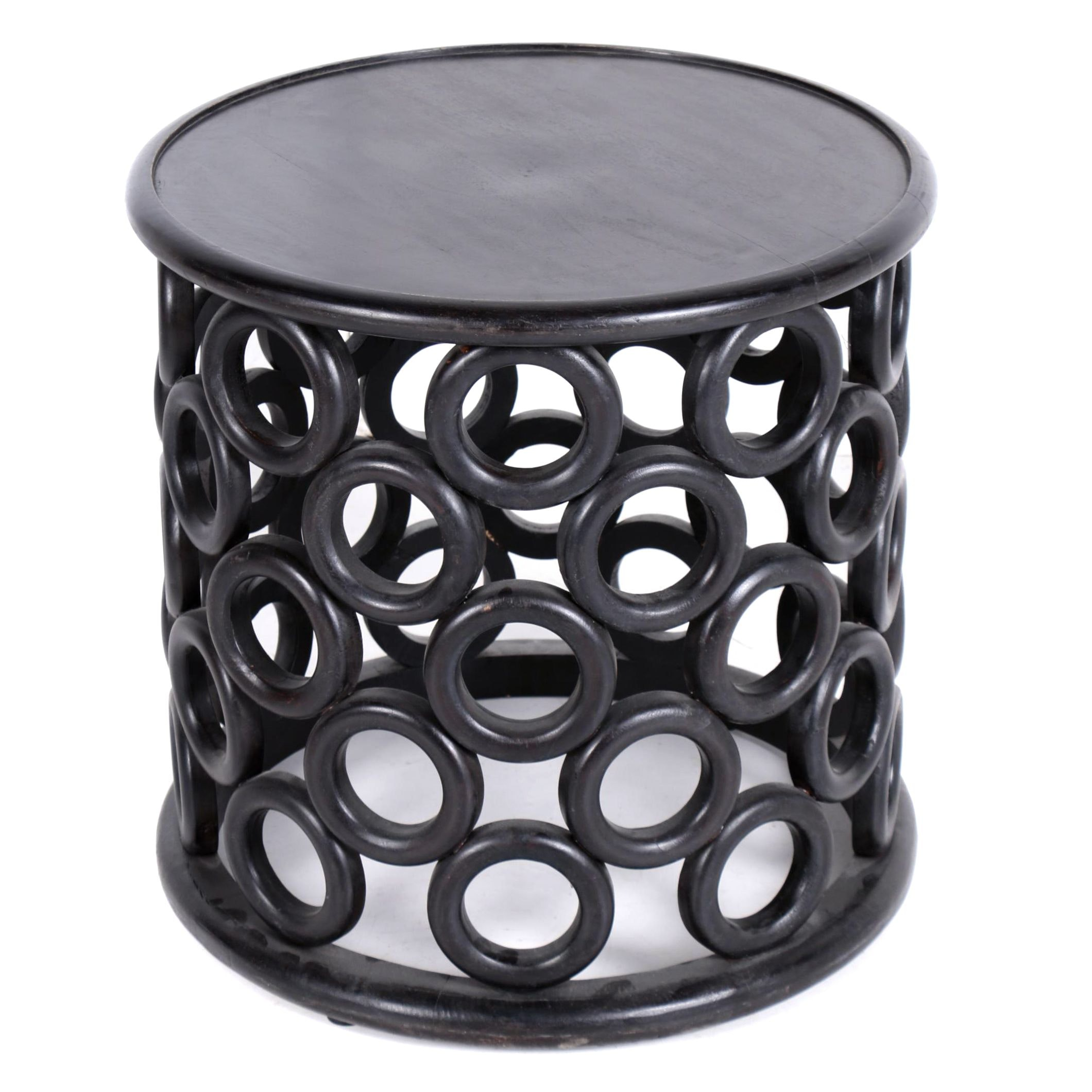 Wooden Ring Side Table with Ebonized Finish