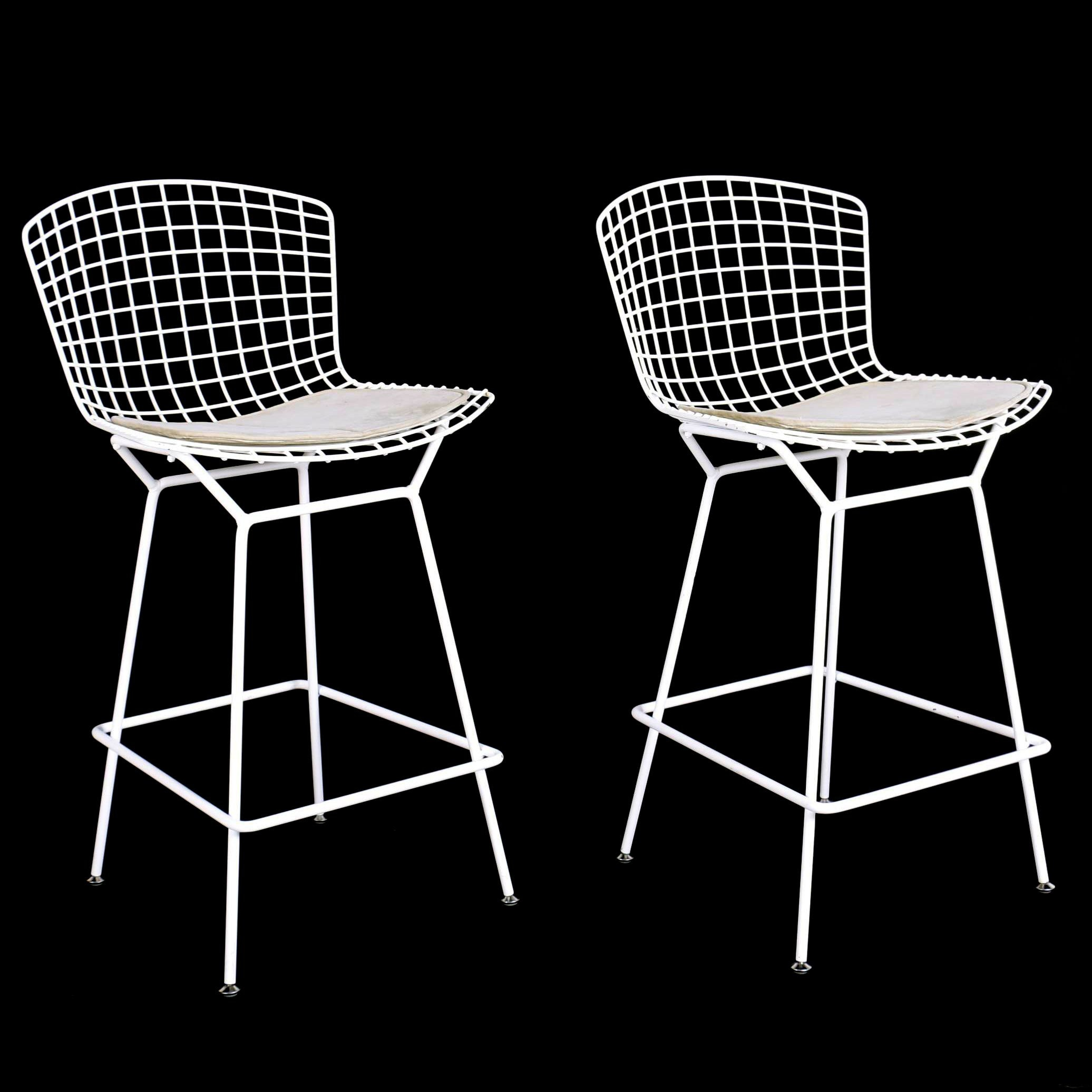 """Pair of Knoll White Powder-Coated Steel Counter-Height """"Bertoia Barstools"""""""