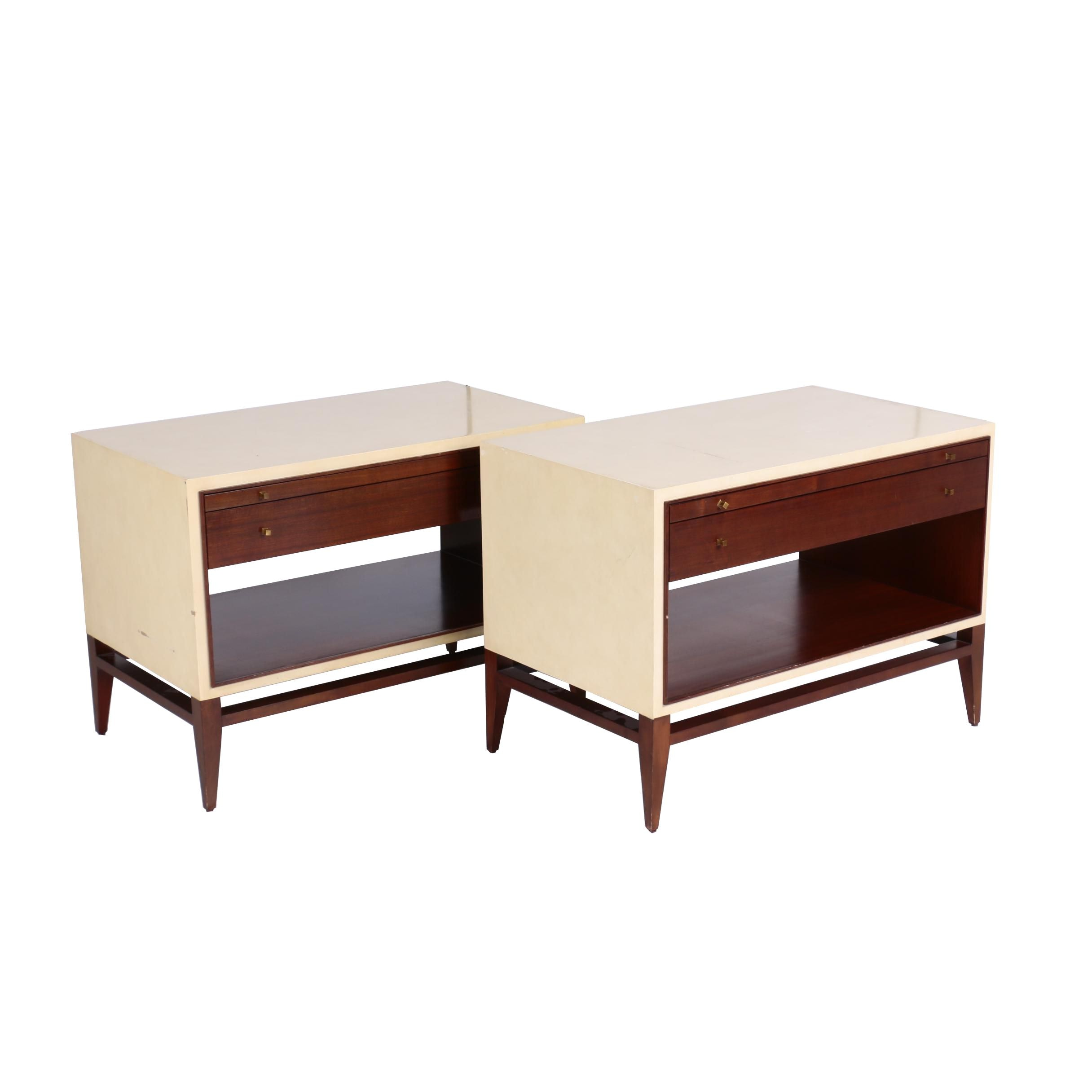 Pair of Henredon Mahogany and Cream-Lacquered Bedside Tables