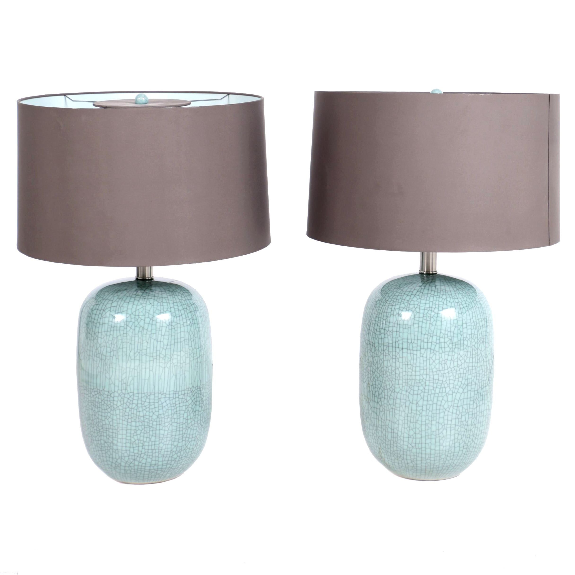 Pair of Crackle Blue Table Lamps with Oversized Shades