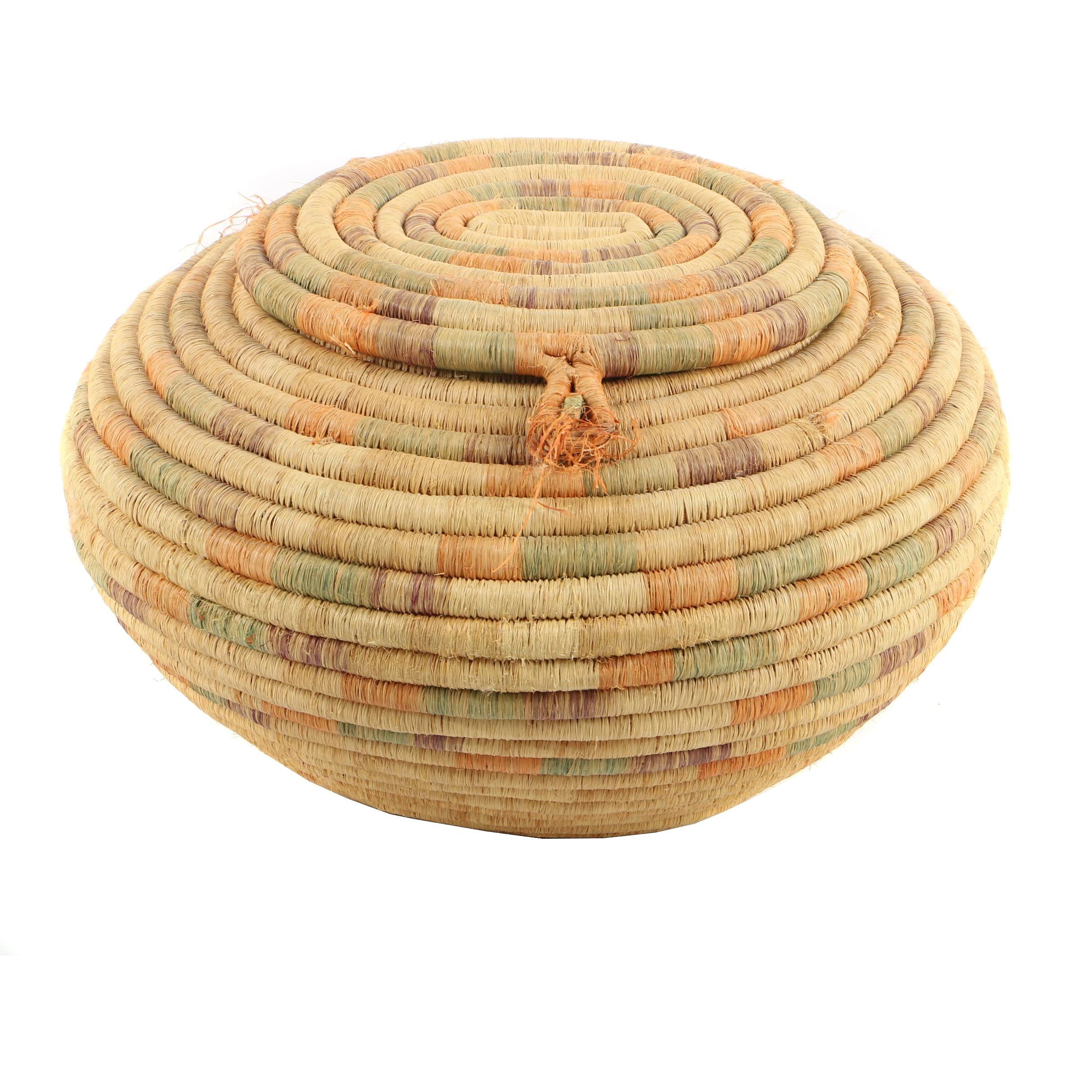 Vintage African Style Lidded Coil Basket