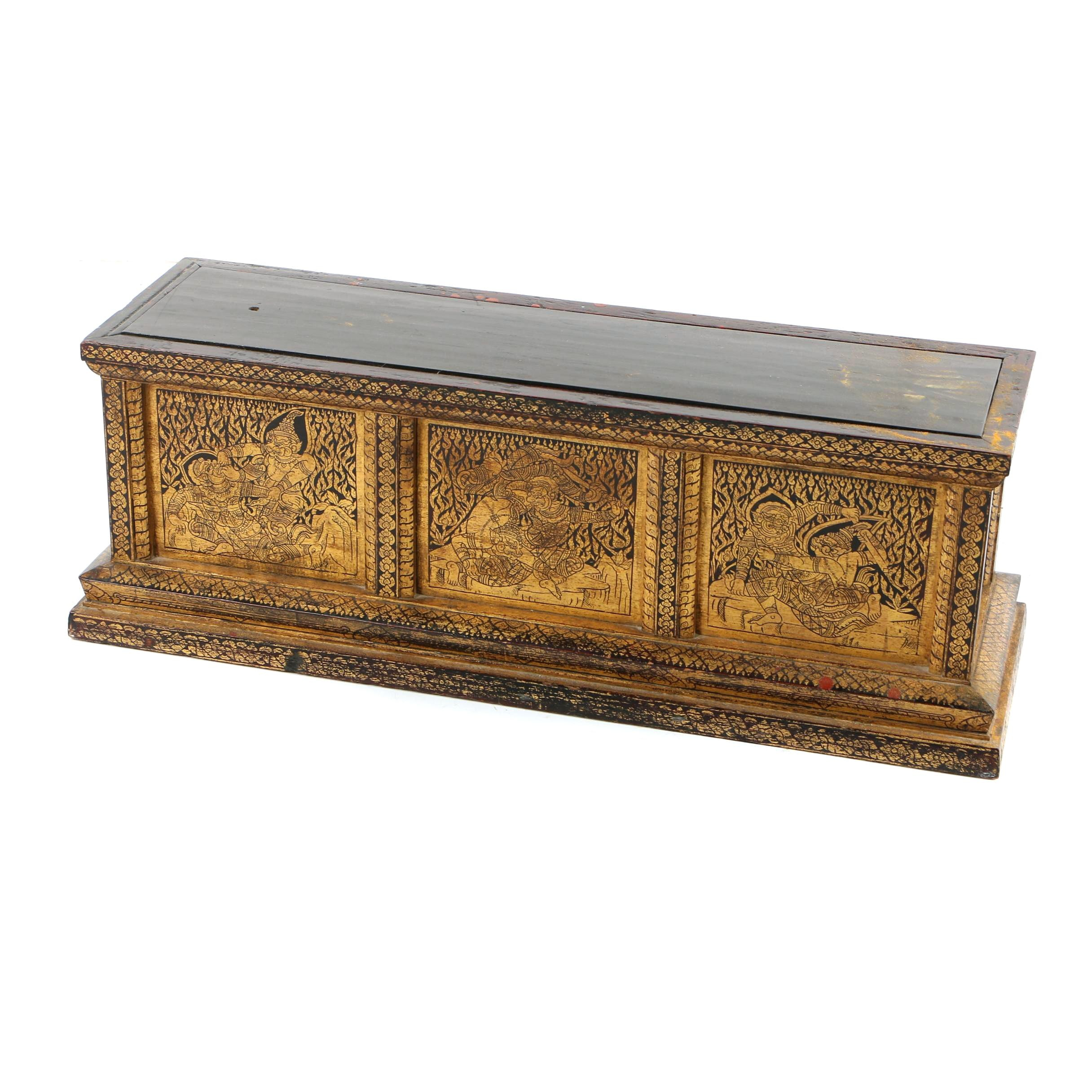 Indonesian Scroll Box with Gilt Accents