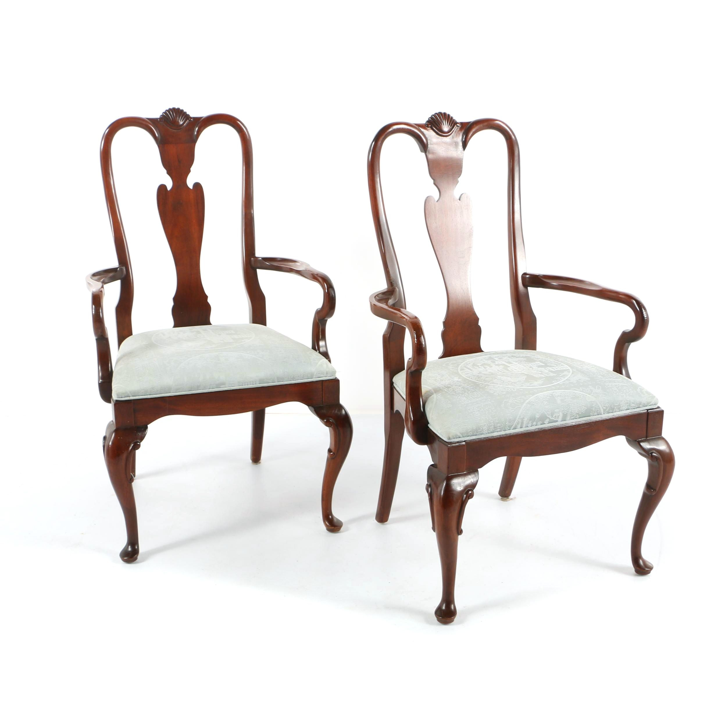 Queen Anne Style Armchairs by Century Furniture