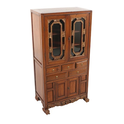 Antique Oak Curved Glass China Cabinet With Claw Feet Ebth